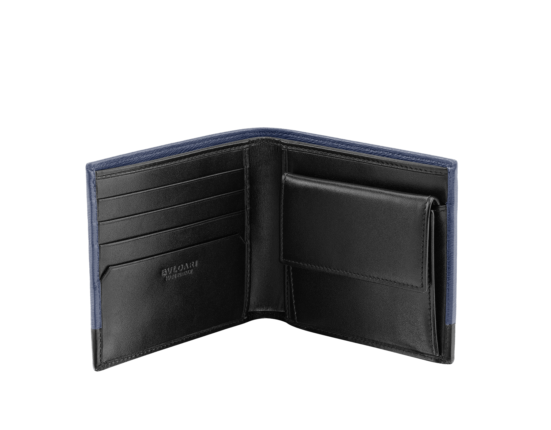 Wallet in denim sapphire grazed calf leather and black calf leather. Bulgari logo on metal plate featuring the Scaglie motif finished in dark ruthenium. 280901 image 2