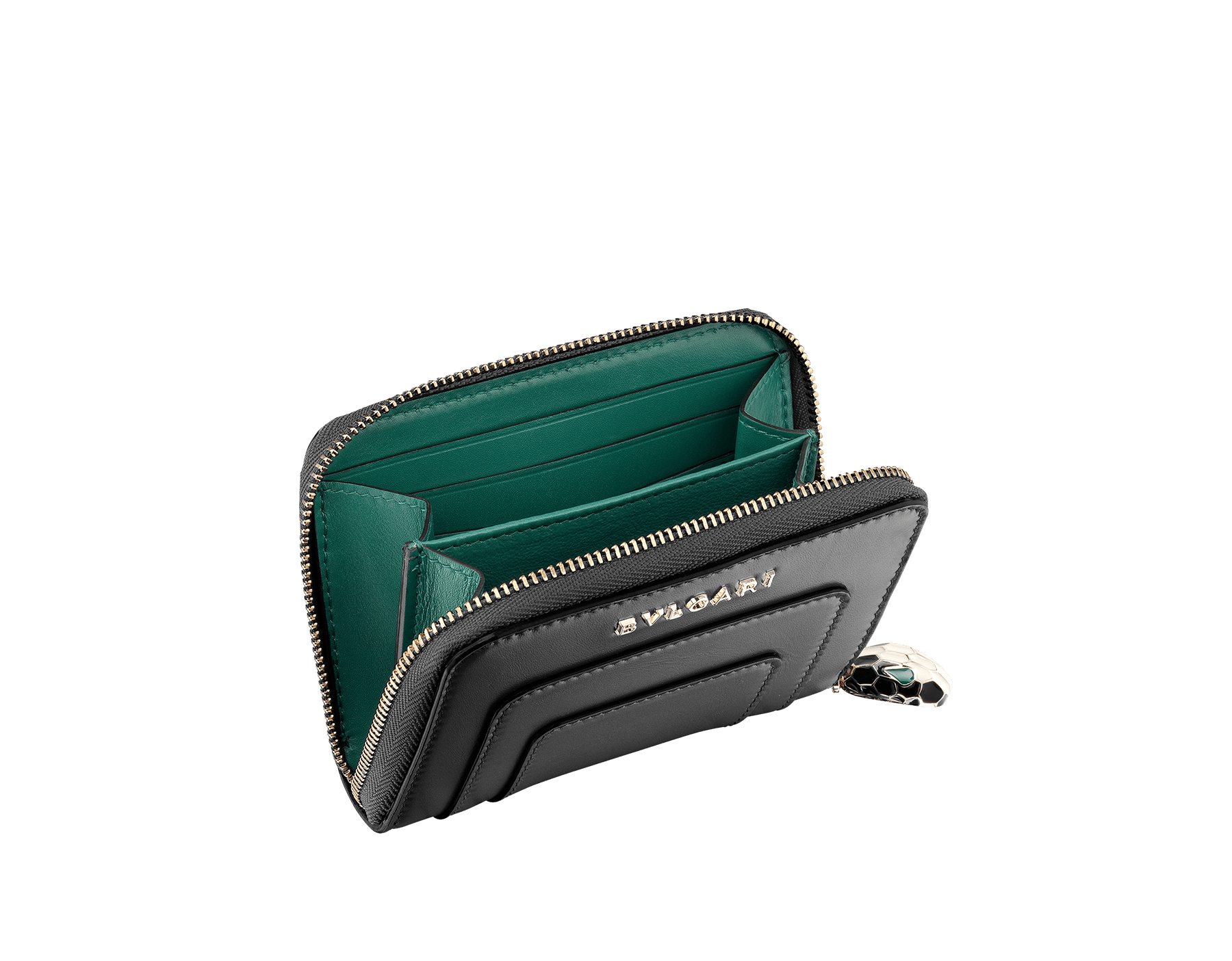 Mini zipped Wallet in black and emerald green calf leather with malachite nappa lining. Brass light gold plated hardware. 280375 image 2