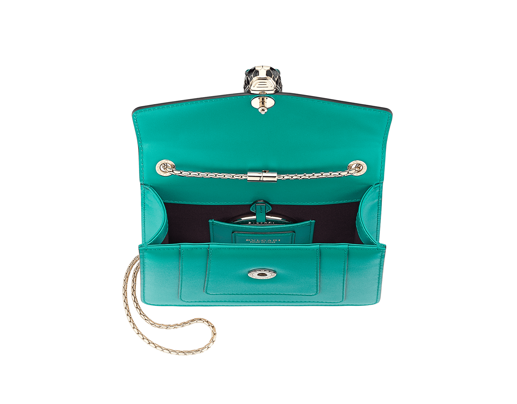 """Serpenti Forever"" crossbody bag in candy quartz calf leather. Iconic snakehead closure in light gold plated brass enriched with black and white enamel and green malachite eyes 422-CLe image 4"