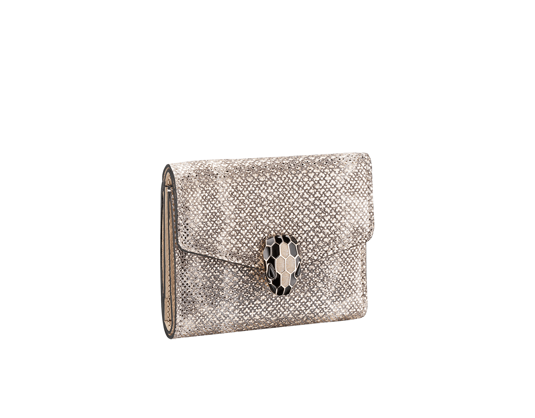 Serpenti Forever square compact wallet in daisy topaz and crystal rose calf leather. Iconic snake head stud closure in black and white agate enamel, with green malachite eyes. SEA-WLT-COMPACT-3Fa image 1