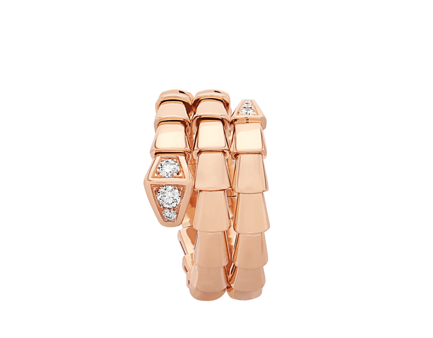 Serpenti Viper two-coil 18 kt rose gold ring set with demi-pavé diamonds AN858824 image 2