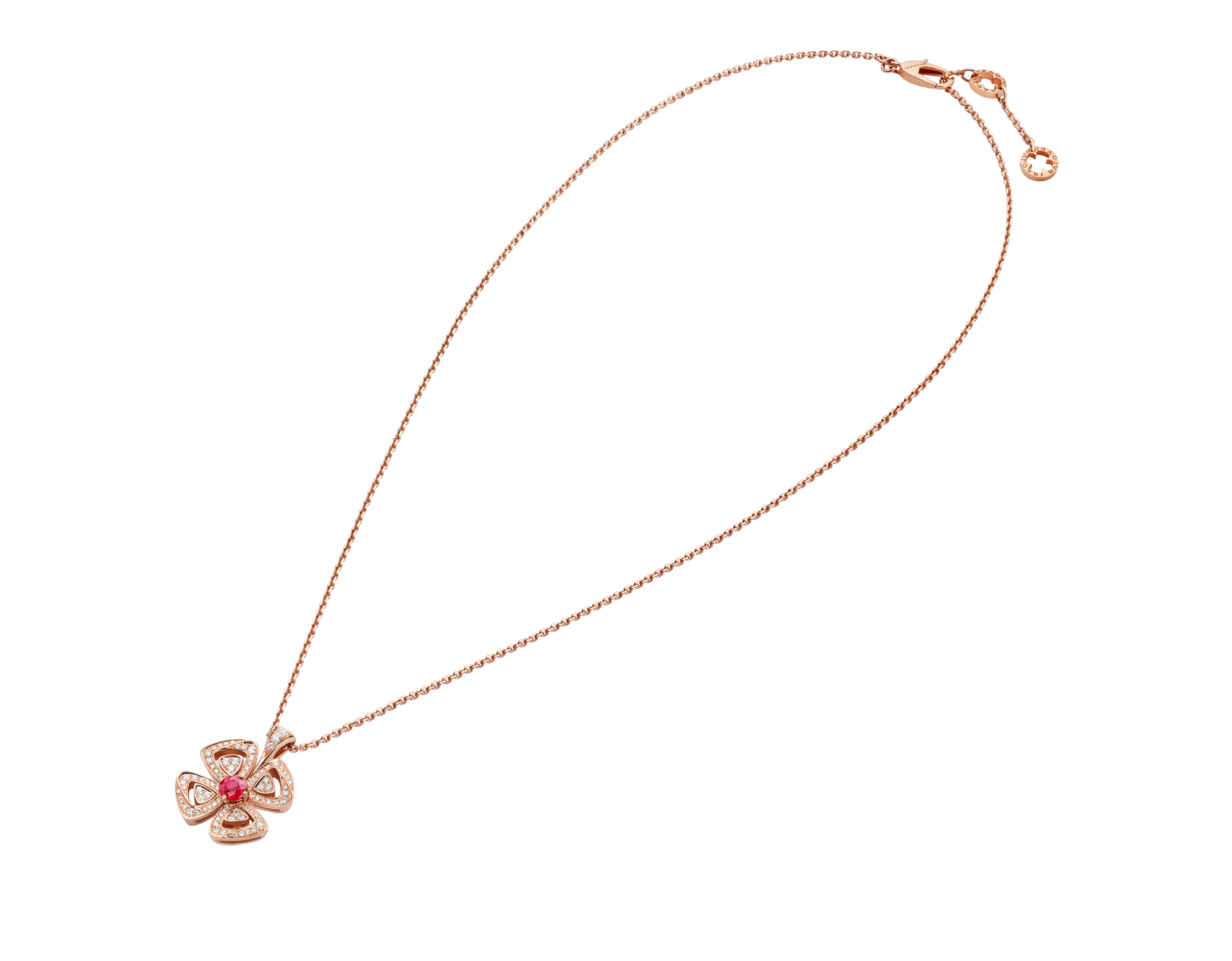 Fiorever 18 kt rose gold pendant necklace set with a central brilliant-cut ruby (0.35 ct) and pavé diamonds (0.31 ct) 358428 image 2