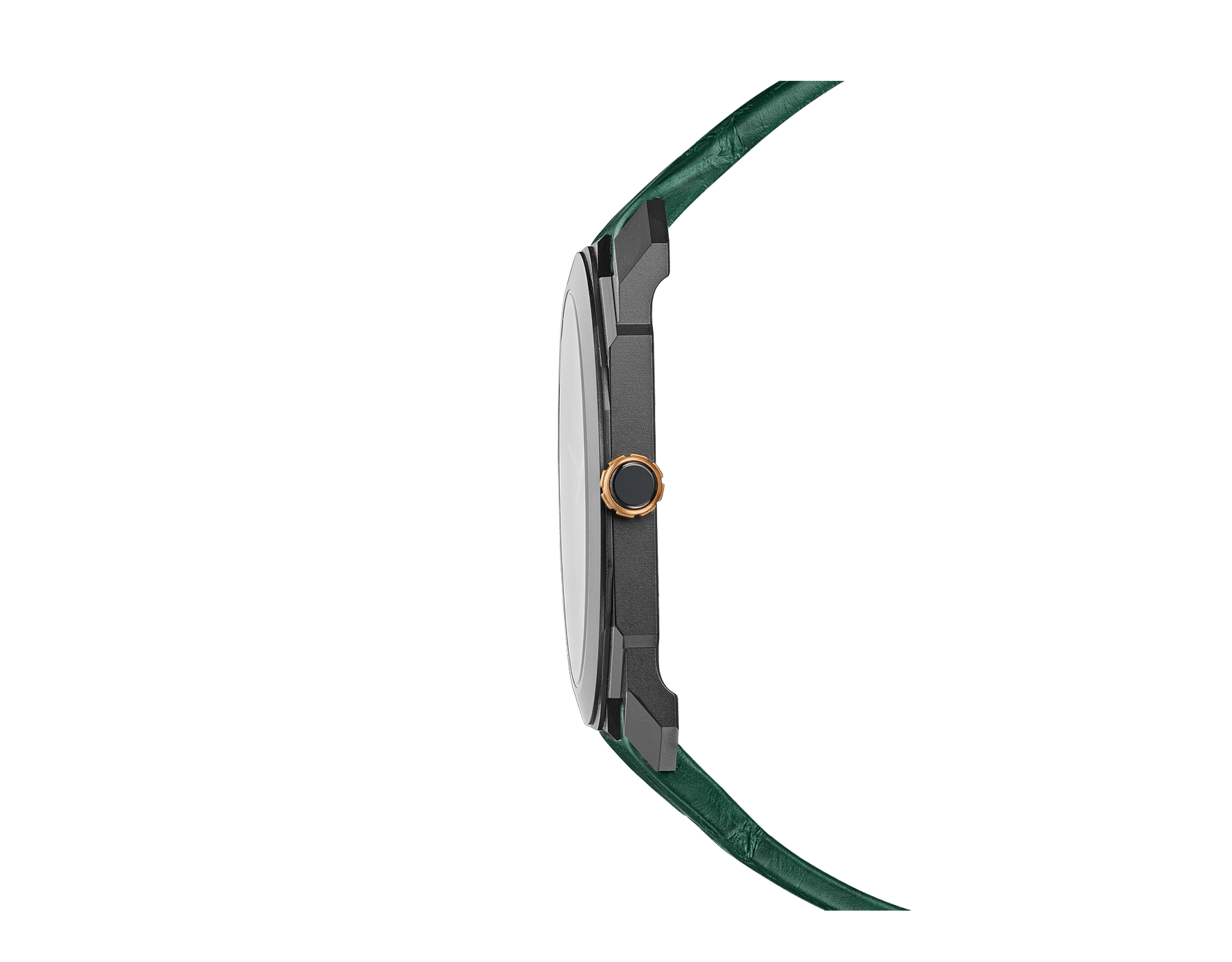Octo Finissimo Automatic watch with extra-thin mechanical manufacture movement, automatic winding with platinum microrotor, small seconds, 40 mm titanium case with Diamond Like Carbon treatment, transparent case back, green dial and green alligator bracelet. Water-resistant up to 30 metres 103151 image 3