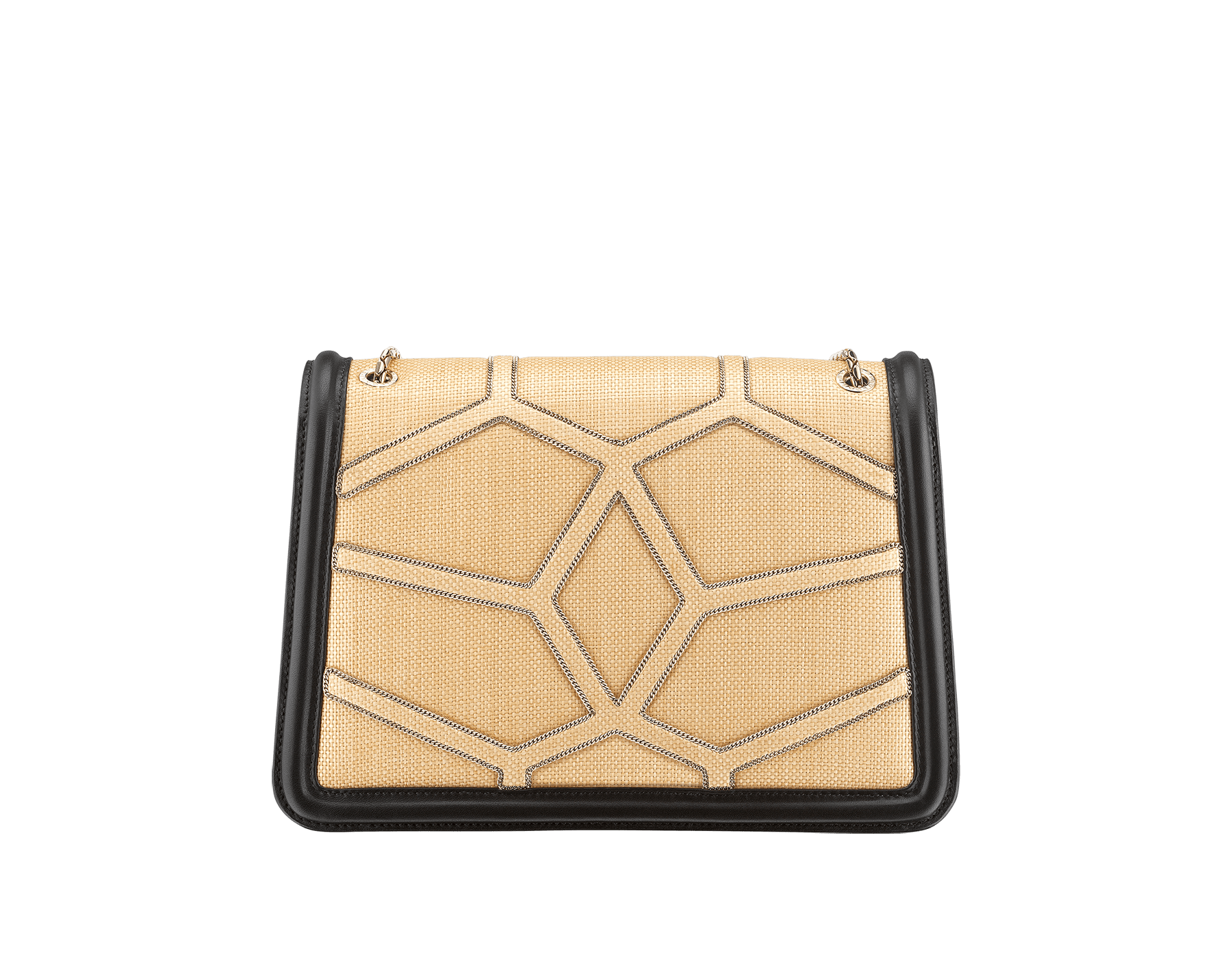 """""""Serpenti Forever """" shoulder bag in beige raffia and black nappa leather internal lining. Alluring light gold-plated brass snakehead closure enhanced with full matte Natural beige enamel and black onyx eyes. 290904 image 3"""