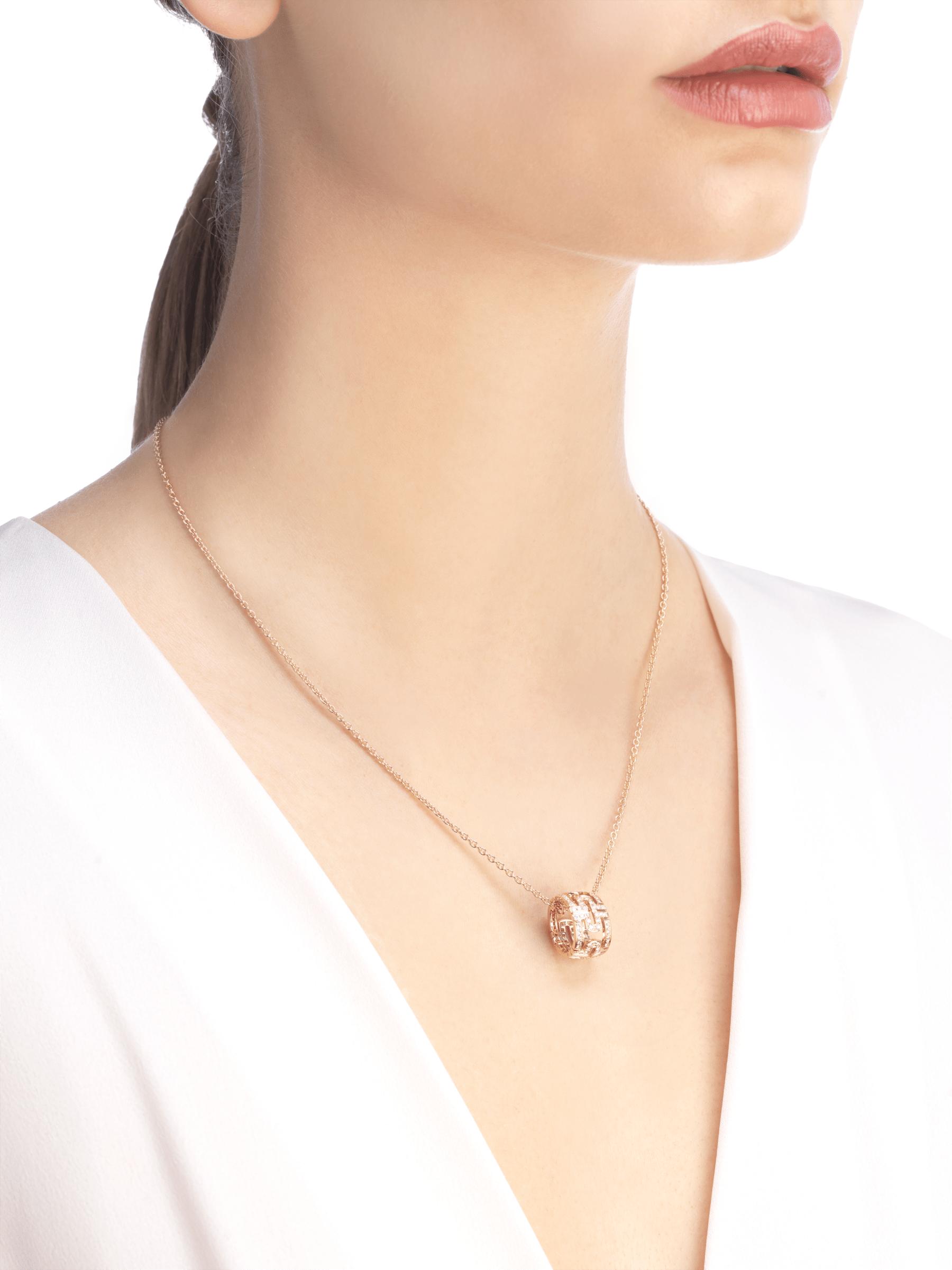 Collier Parentesi avec chaîne en or rose 18K et pendentif rond en or rose 18K pavé diamants 343471 image 4