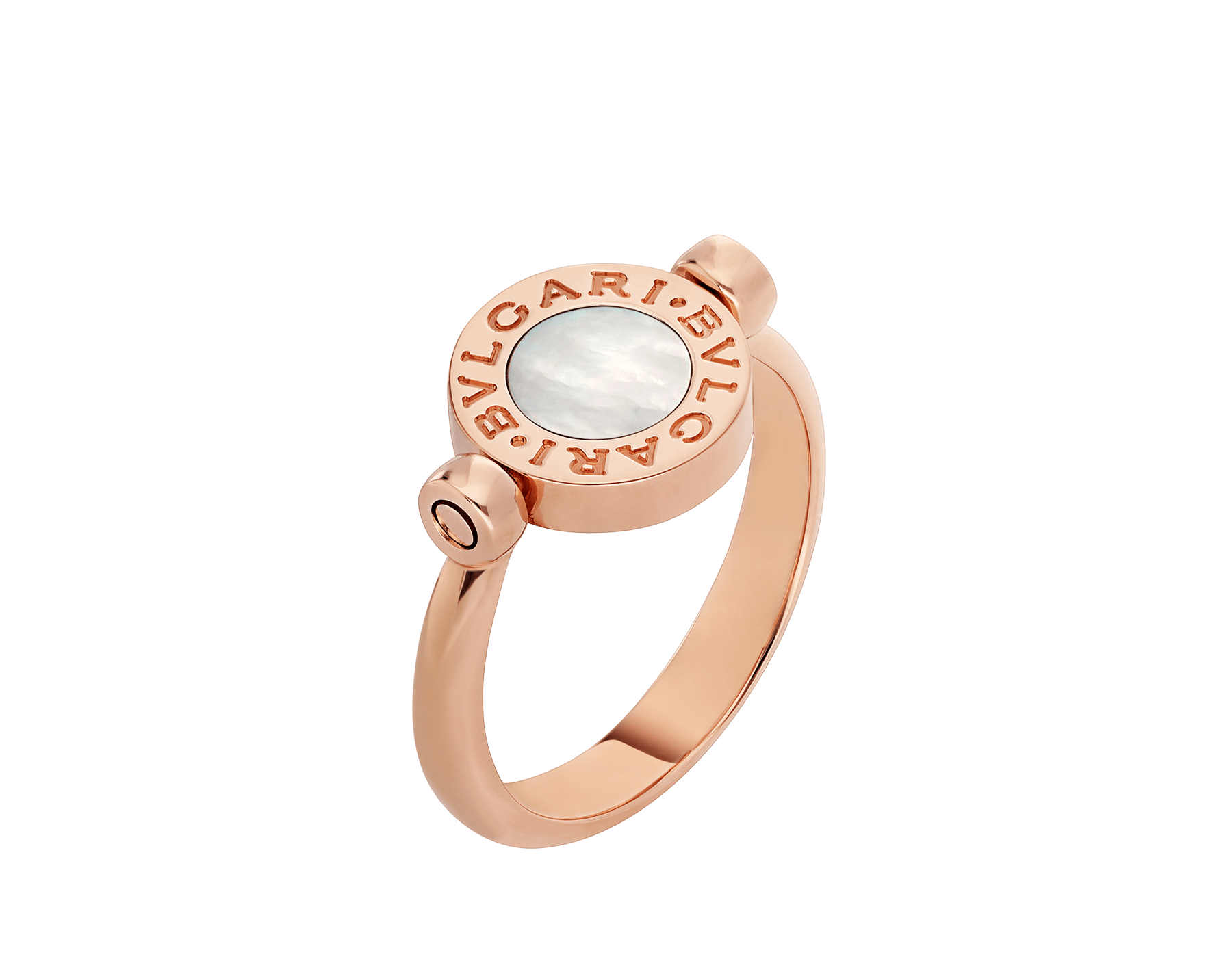 BVLGARI BVLGARI 18 kt rose gold flip ring set with mother-of-pearl and carnelian elements AN858197 image 3