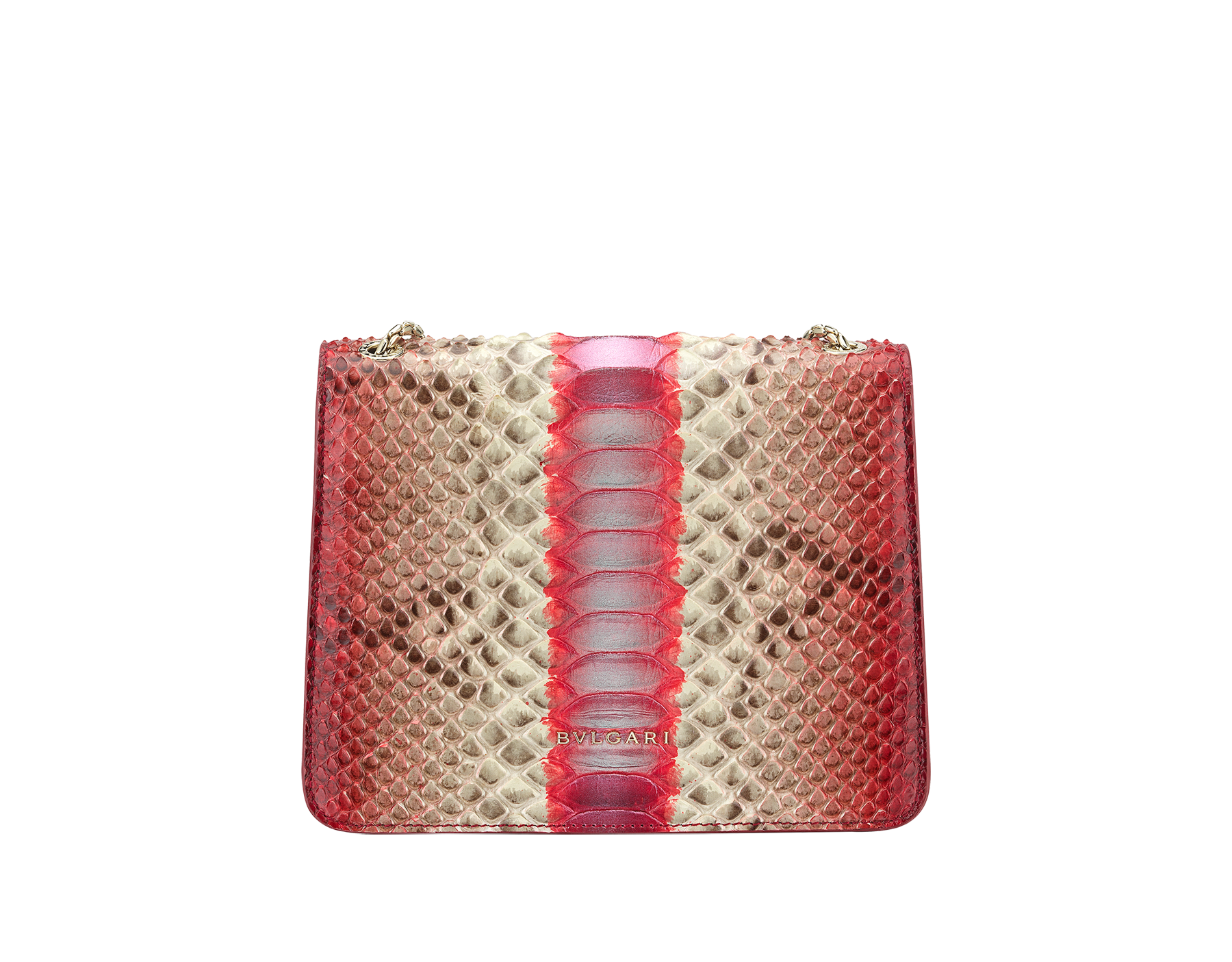 """Serpenti Forever"" crossbody bag in multicolour ""Magic Chromaline"" python skin. Iconic snakehead closure in light gold plated brass enriched with black and white enamel and black onyx eyes. 422-Pc image 3"
