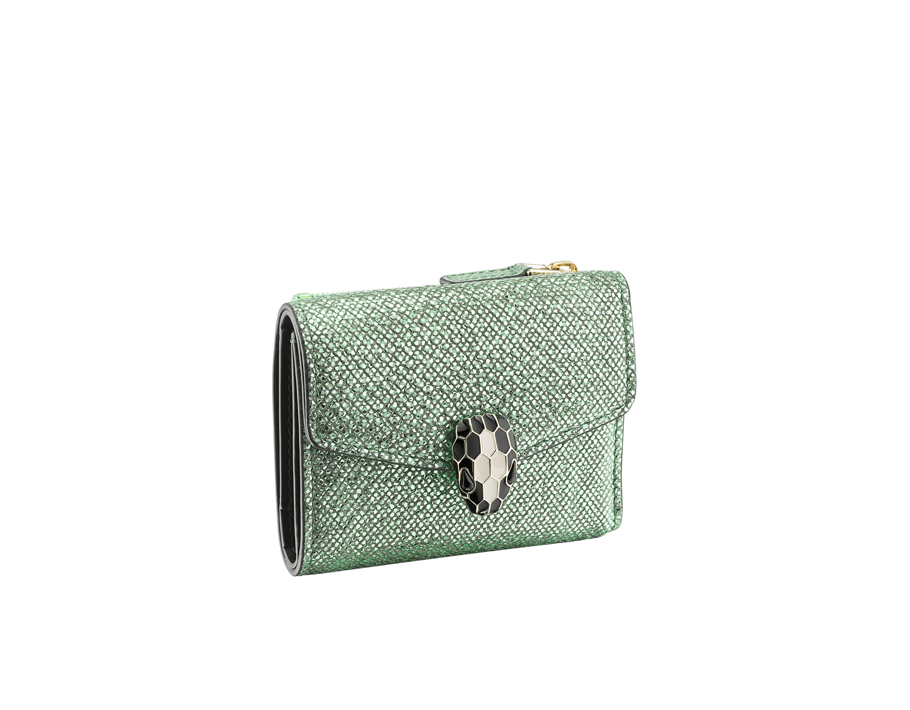 """Serpenti Forever"" slim compact wallet in mint metallic karung skin and black calf leather. Iconic light gold plated brass snakehead stud closure in black and white agate enamel, with black onyx eyes. 290125 image 1"