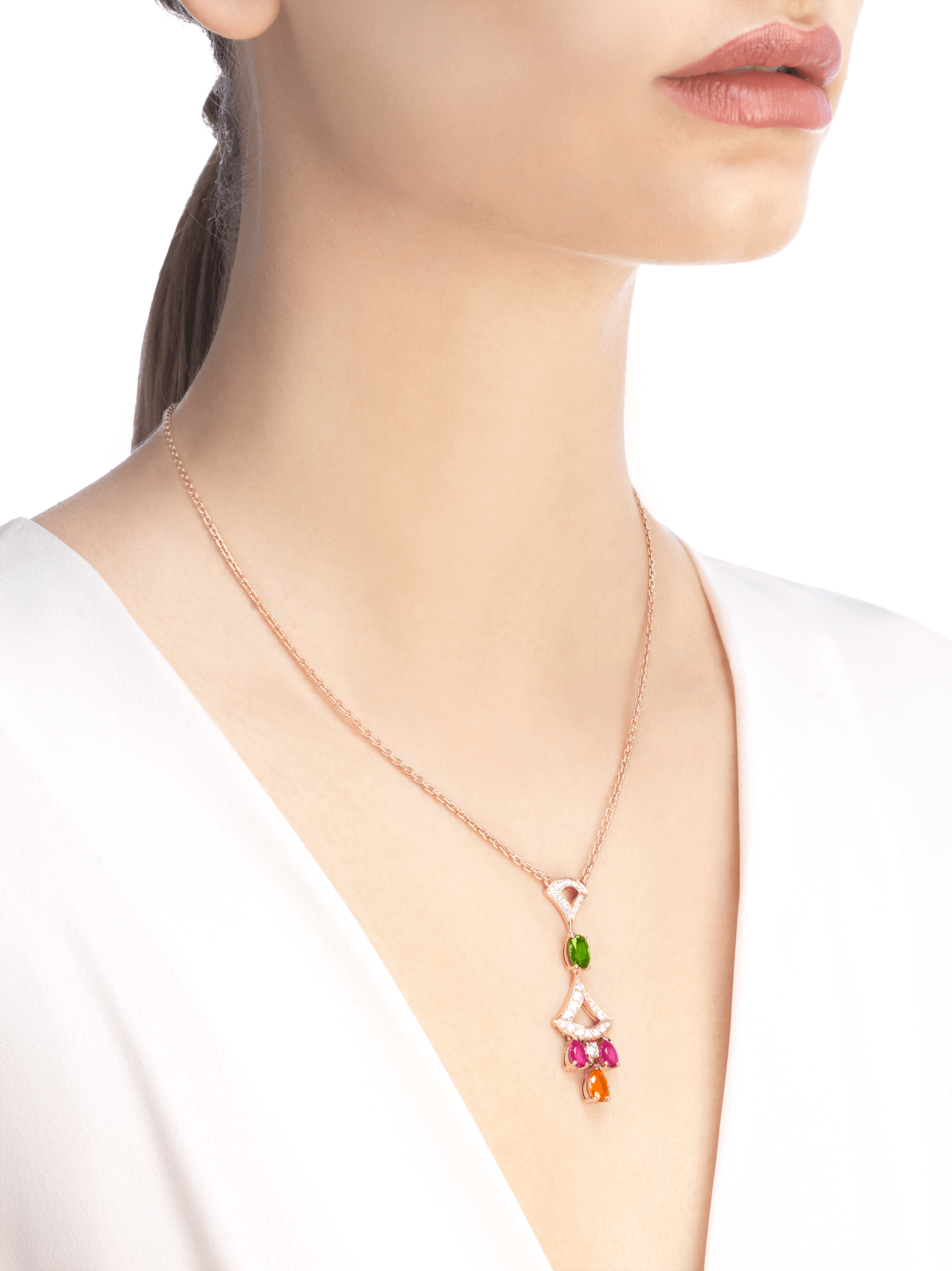 DIVAS' DREAM 18 kt rose gold necklace set with coloured gemstones, a brlliant-cut diamond and pavé diamonds 355613 image 4