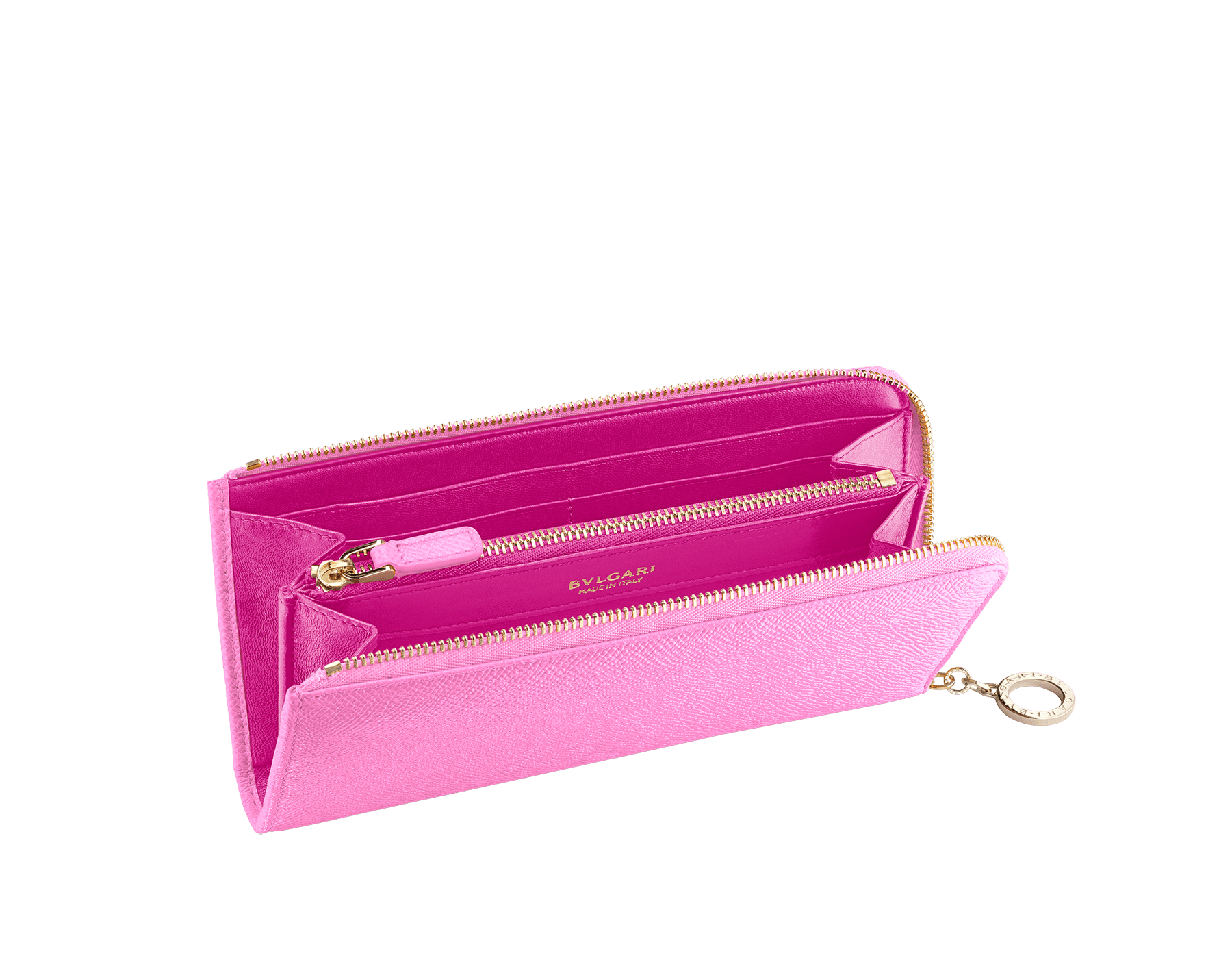"""BVLGARI BVLGARI"" large L-shaped zipped wallet in taffy quartz bright grain calf leather and berry tourmaline nappa leather. Iconic logo zip puller in light gold plated brass. 579-WLT-MZP-SLIM-La image 2"
