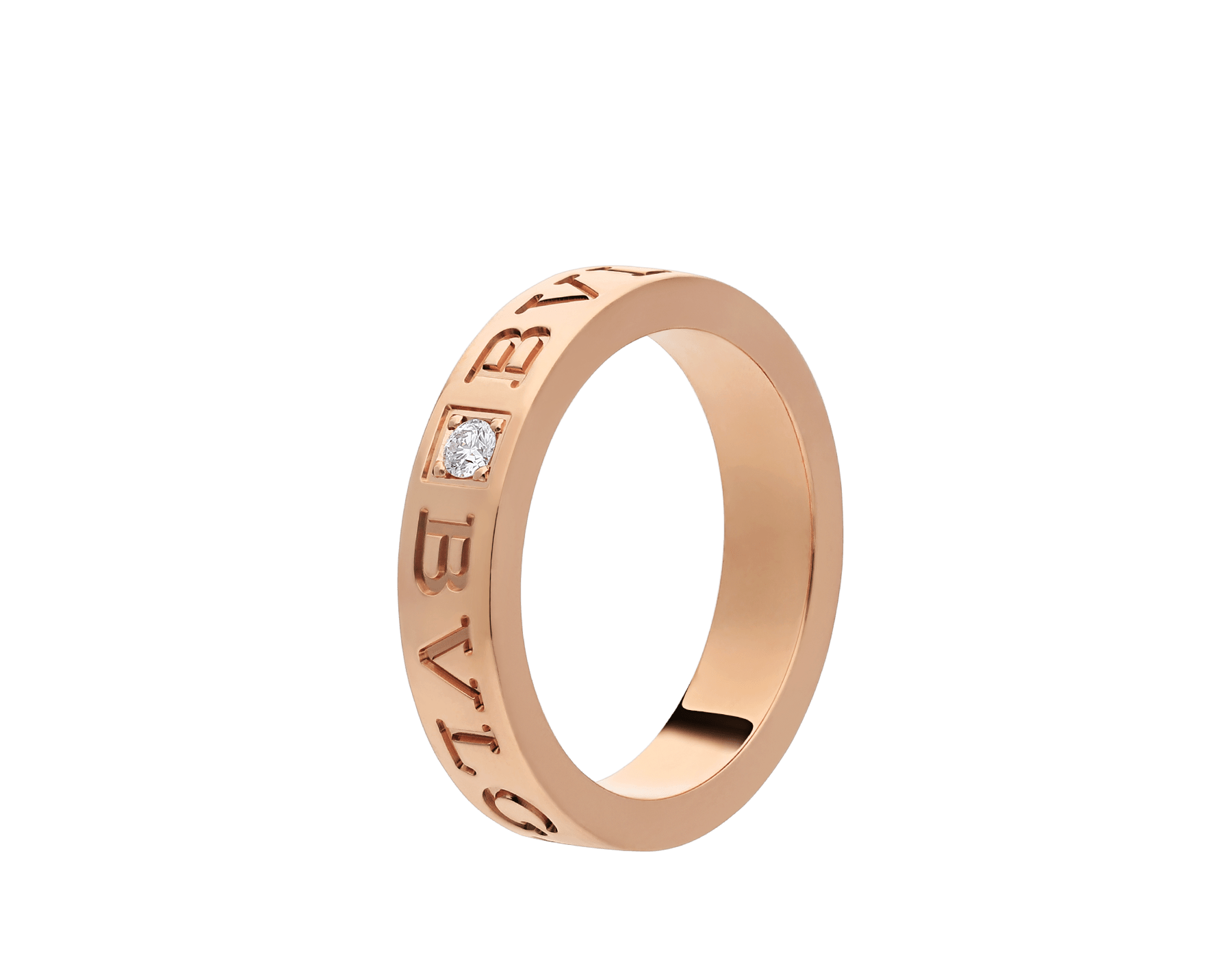 BVLGARI BVLGARI 18 kt rose gold ring set with a diamond AN854185 image 1