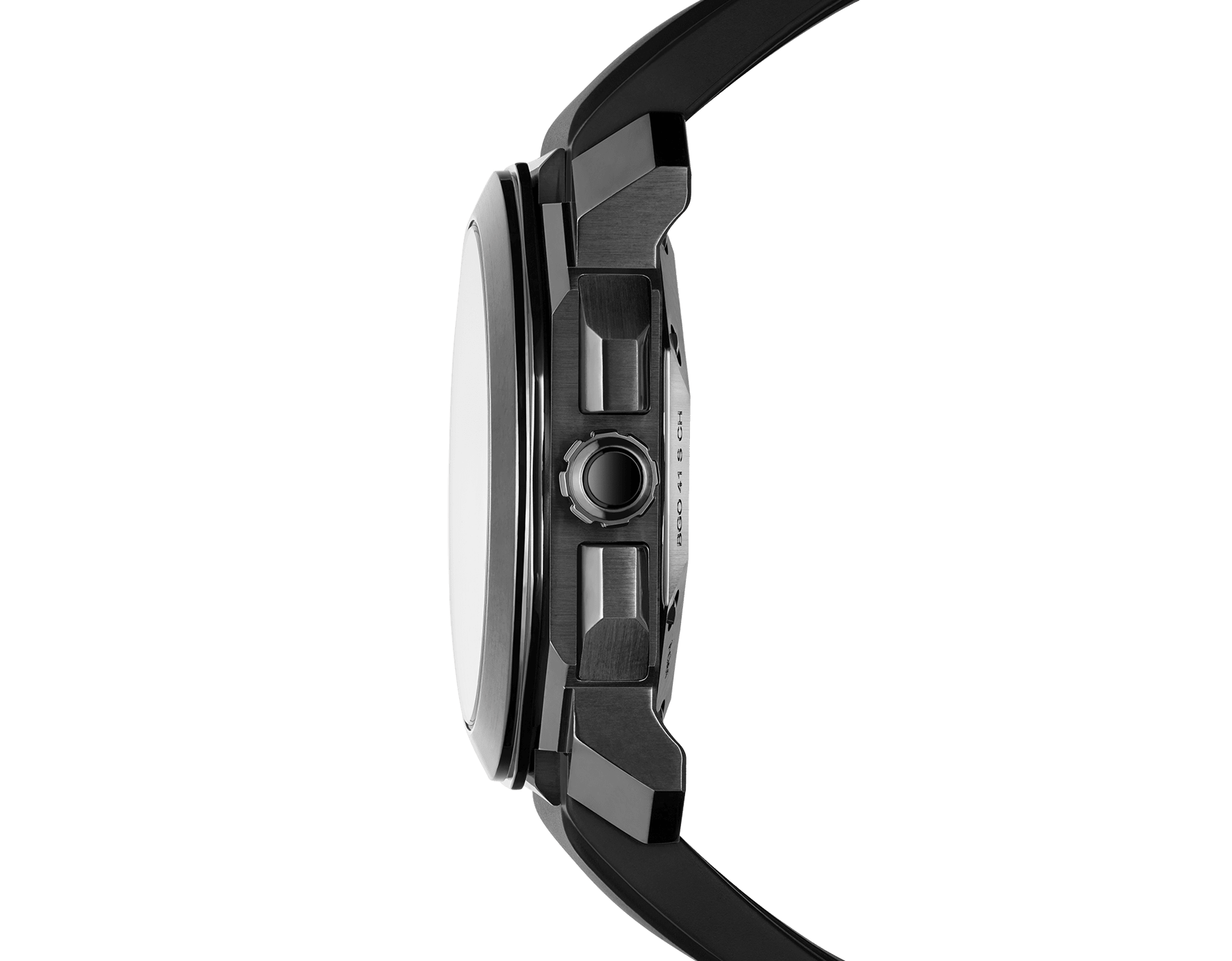 Octo L'Originale watch with mechanical manufacture movement, integrated high-frequency chronograph (5Hz), column wheel mechanism, silicon escapement, automatic winding and date, stainless steel case treated with black Diamond Like Carbon, grey dial and black rubber bracelet 103027 image 3