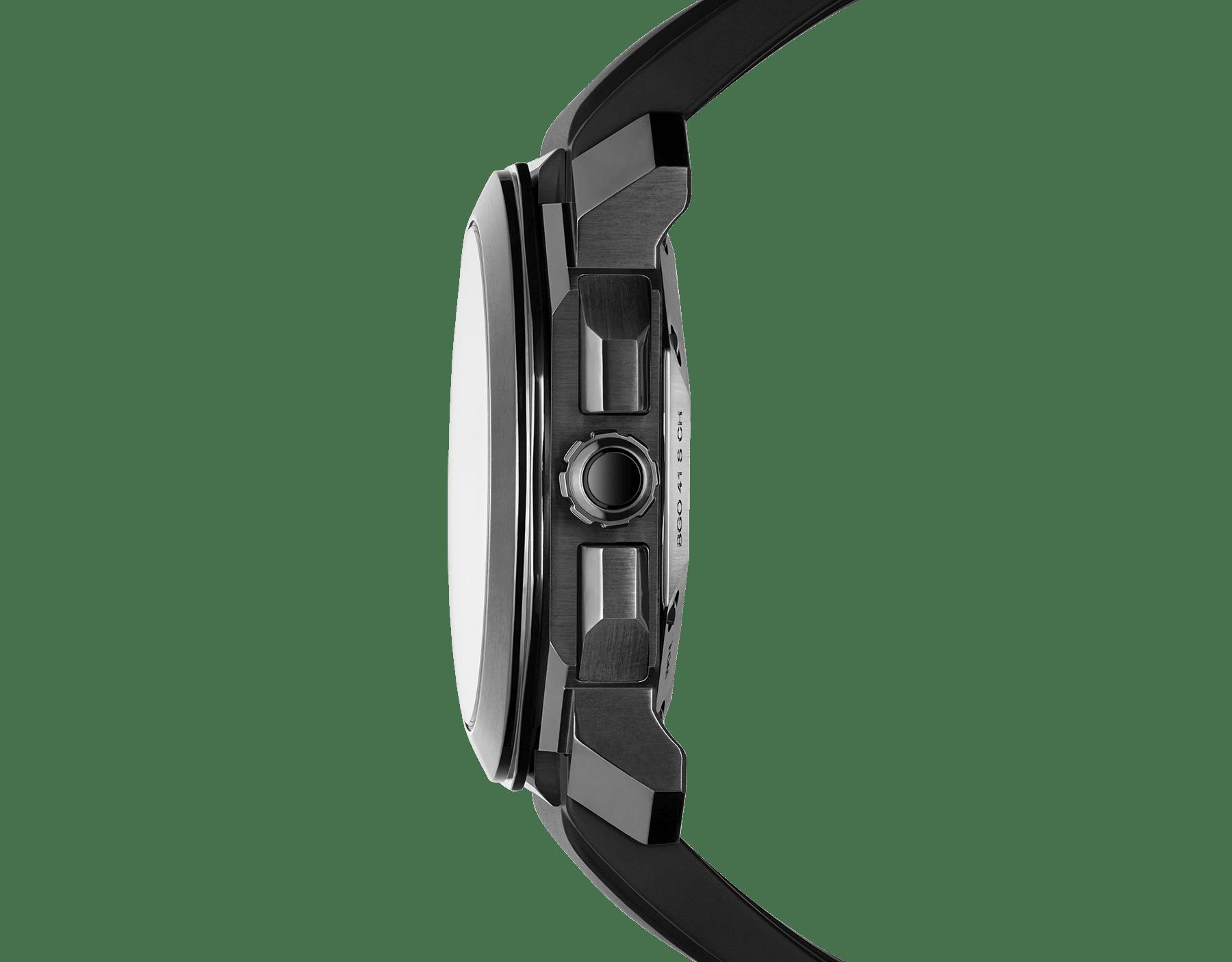 Octo L'Originale Uhr mit mechanischem Manufakturwerk, integriertem Hochfrequenz-Chronographen (5Hz), Säulenradmechanismus, Silizium-Hemmung, Automatikaufzug und Datumsanzeige, Gehäuse aus Edelstahl mit schwarzer DLC (Diamond Like Carbon)-Beschichtung, grauem Zifferblatt und schwarzem Kautschukarmband 103027 image 3