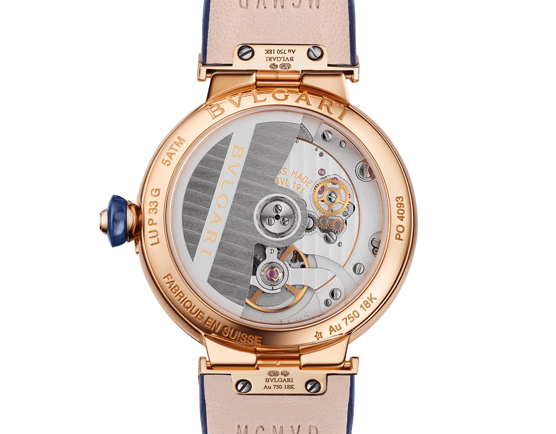 LVCEA watch with mechanical movement and automatic winding, polished 18 kt rose gold case and links both set with round brilliant-cut diamonds, blue aventurine dial and blue alligator bracelet. Water-resistant up to 30 metres. 103341 image 4