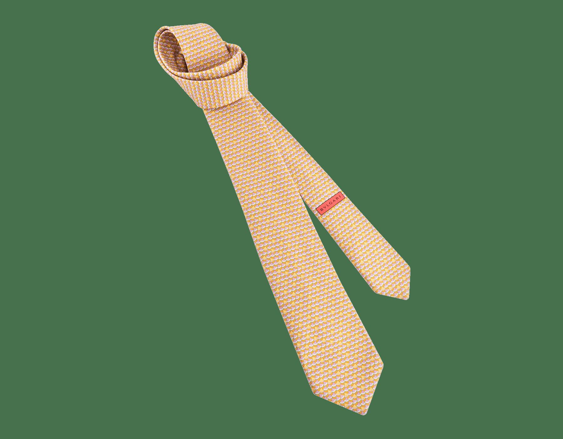 Mandarine orange Watermellon Diva pattern seven-folds tie in fine saglione printed silk. 243324 image 1