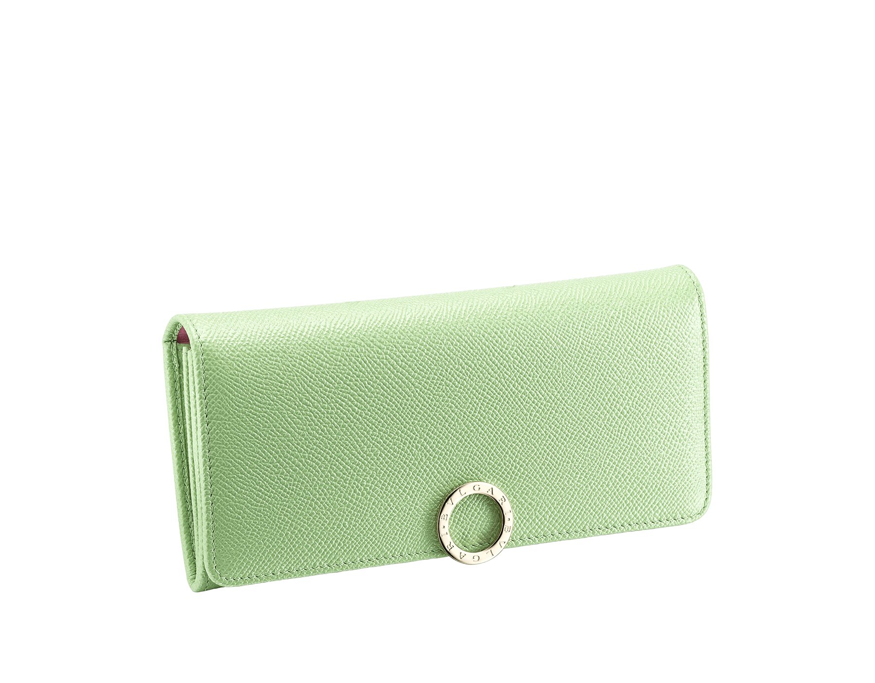 """BVLGARI BVLGARI"" large wallet in mint bright grain calf leather and taffy quartz nappa leather. Iconic logo clip closure in light gold plated brass. 579-WLT-SLI-POC-CLa image 1"