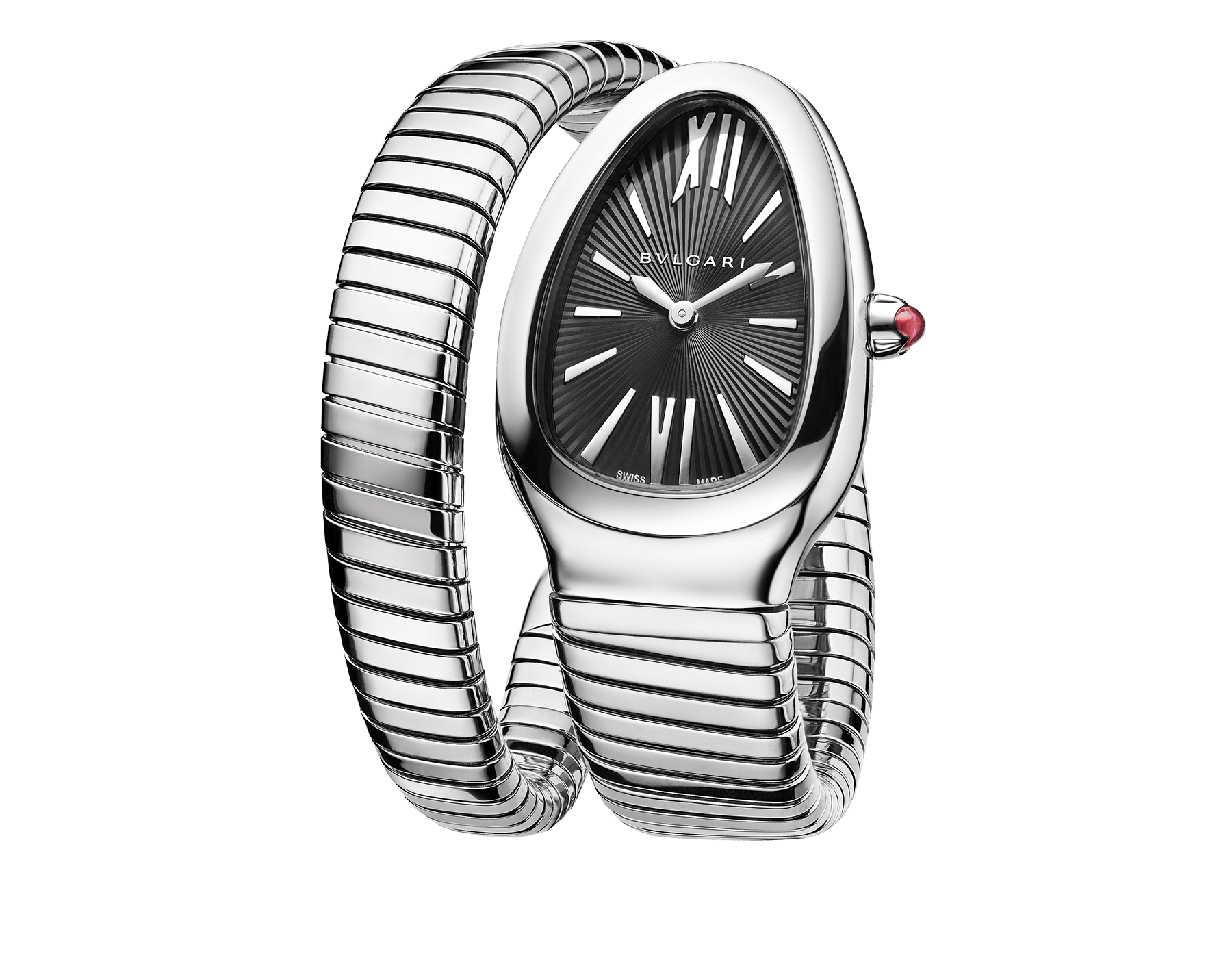 Serpenti Tubogas single spiral watch in stainless steel case and bracelet, with black opaline dial. 102824 image 1