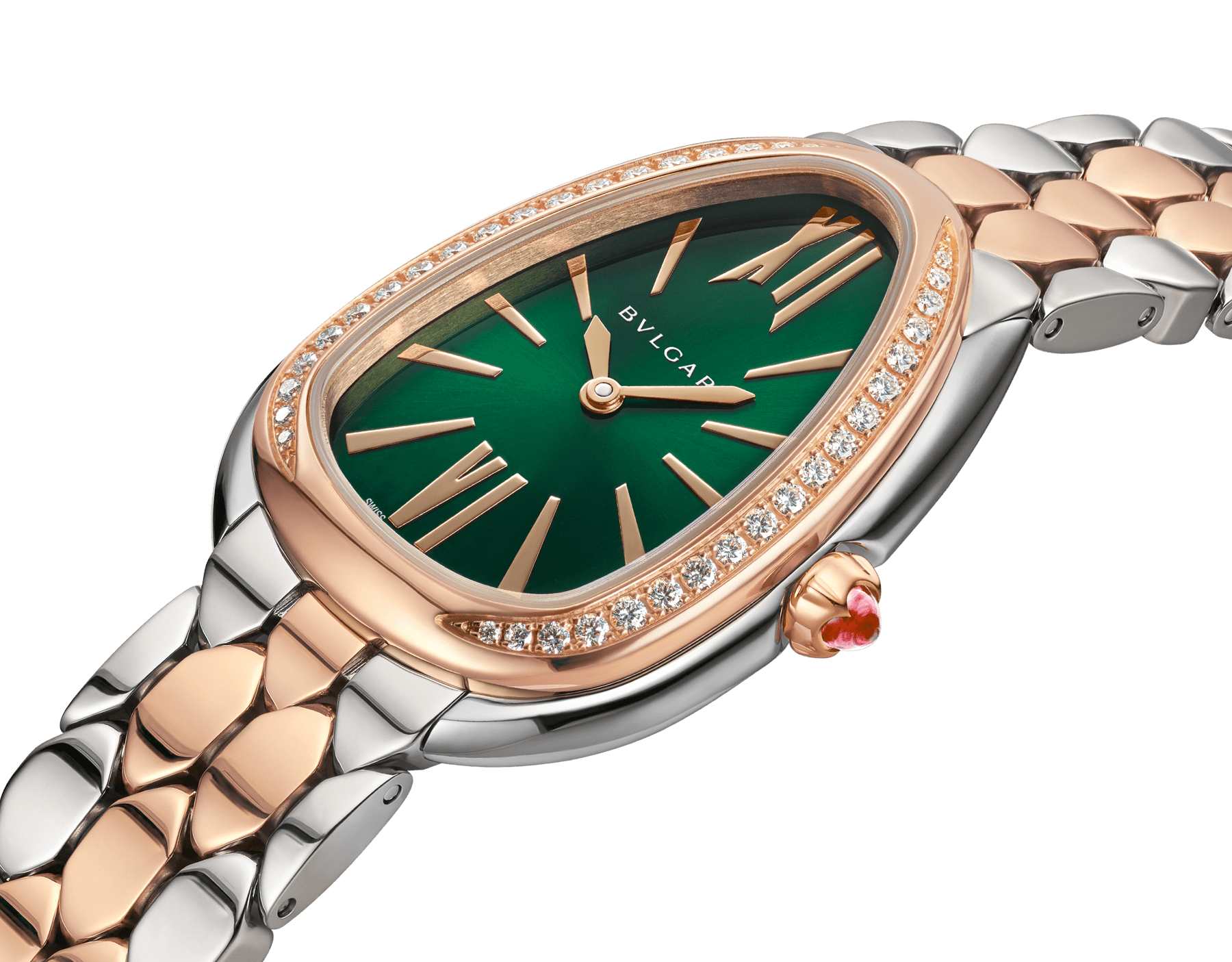Serpenti Seduttori watch with stainless steel case, 18 kt rose gold bezel set with 38 round brilliant-cut diamonds (about 0.39 ct), green dial and 18 kt rose gold and stainless steel bracelet. Size 165 mm. Water-resistant up to 30 meters. Special Edition exclusive to United Kingdom and Middle East 103526 image 2