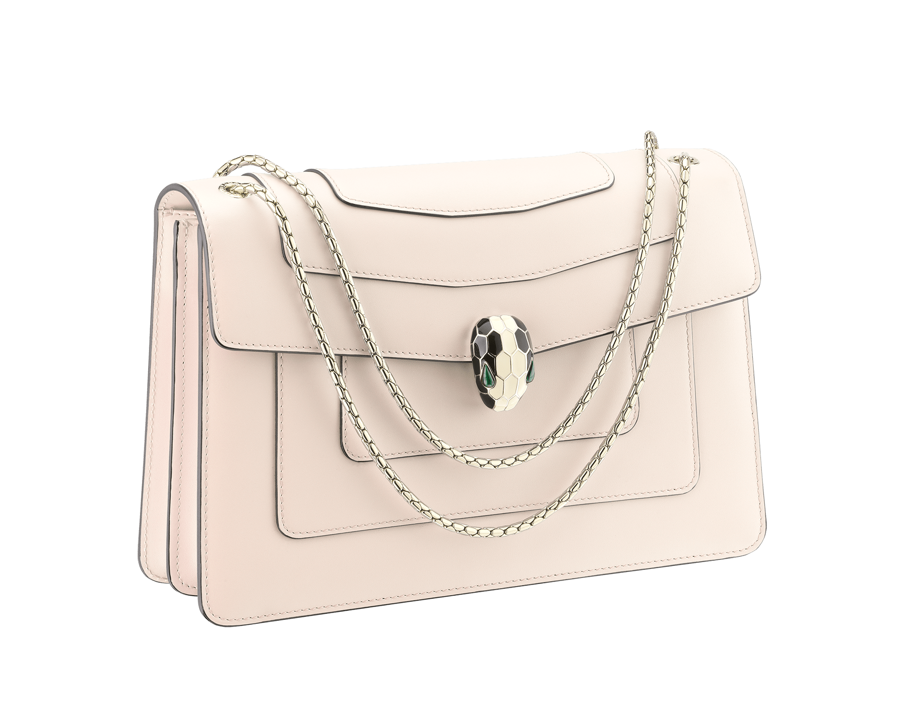"""""""Serpenti Forever """" shoulder bag in carmine jasper calf leather. Iconic snakehead closure in light gold plated brass enriched with black and white enamel and green malachite eyes 521-CLd image 2"""
