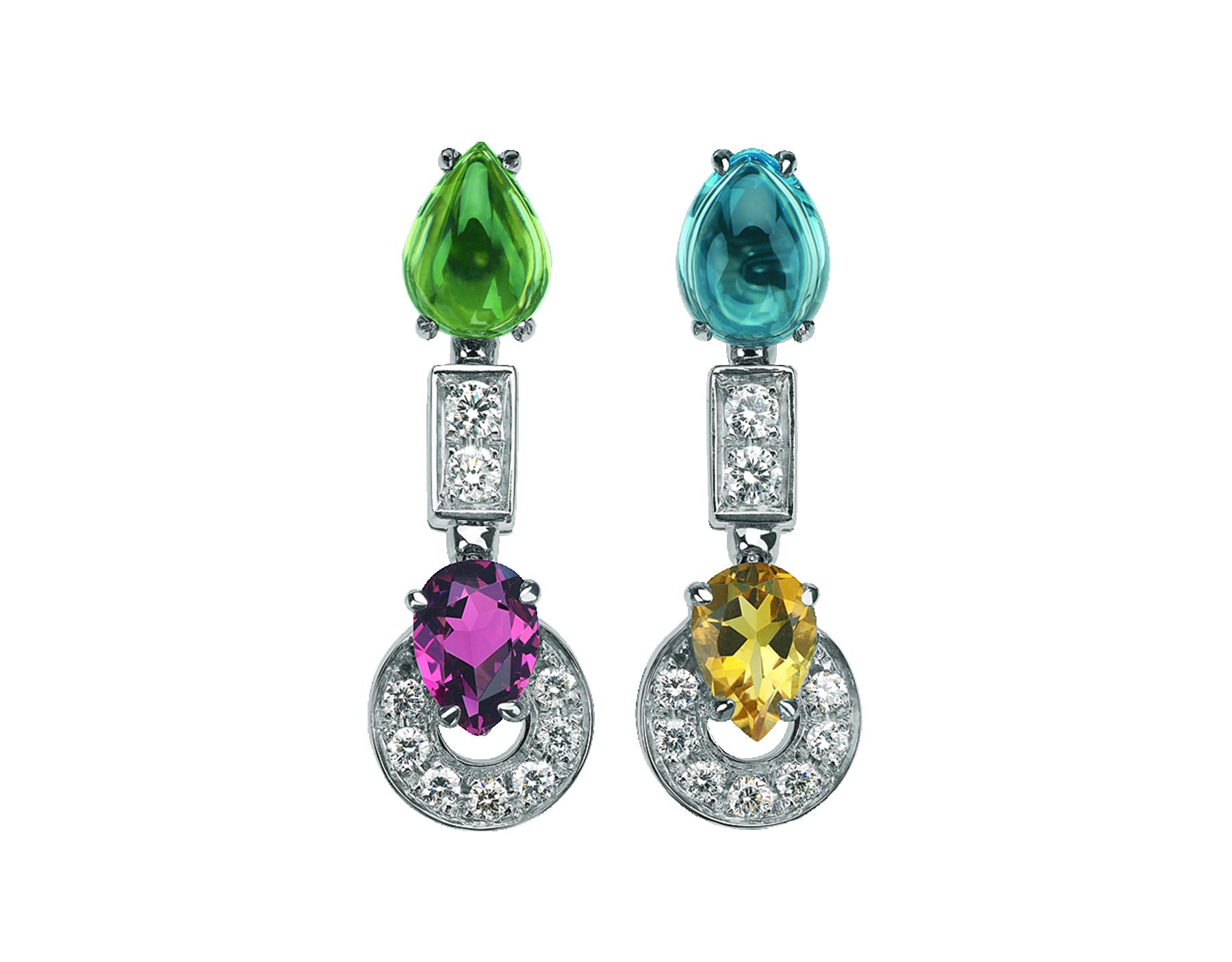 Pendientes Allegra cortos con colgante en oro blanco de 18 qt con peridoto, granate rodolita, cuarzo citrino, topacio azul y pavé de diamantes. 339610 image 1