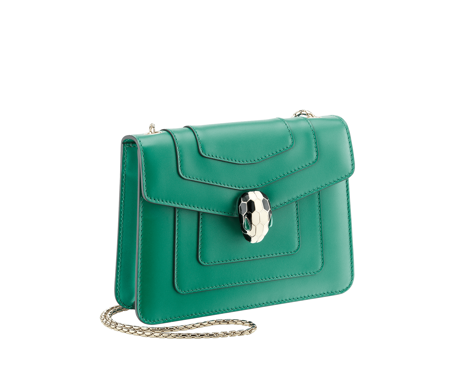 Shoulder bag Serpenti Forever in emerald green calf leather with brass light gold plated Serpenti head closure in black and white enamel with eyes in malachite. 422-CLa image 2