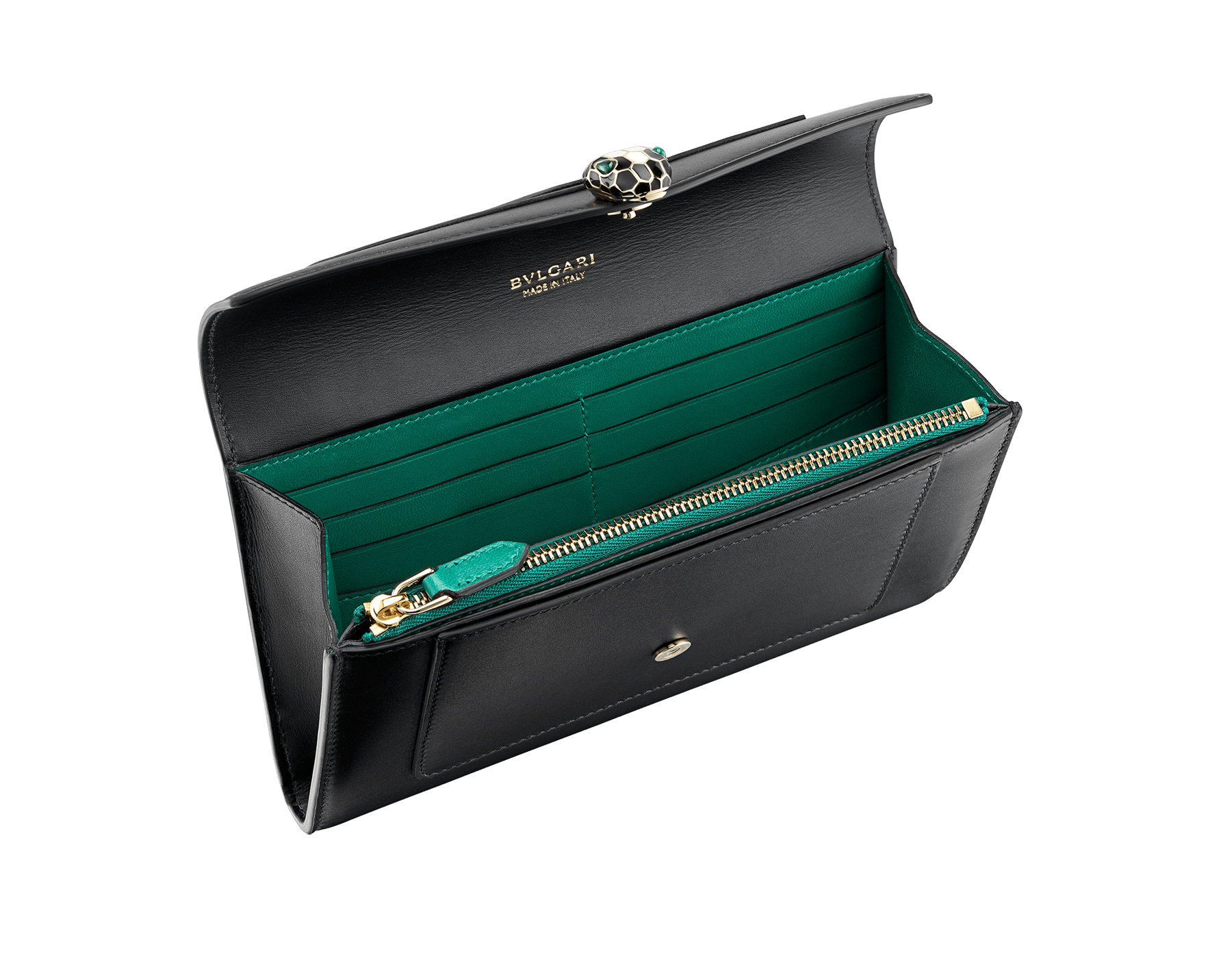"""Serpenti Forever"" new large wallet in black soft calf leather and emerald green nappa leather. Brass light gold plated iconic snakehead closure in black and white agate enamel, finished with green malachite eyes. SEA-LONGWLT image 2"