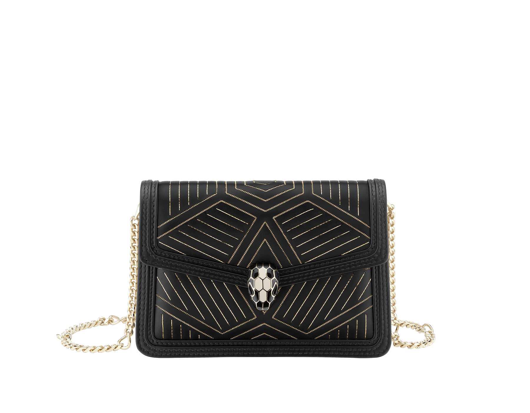 """Serpenti Diamond Blast"" shoulder bag in white agate calf leather, featuring a Whispy Chain motif in light gold finishing. Iconic snakehead closure in light gold-plated brass enriched with black and white agate enamel and black onyx eyes. 987-WC image 1"