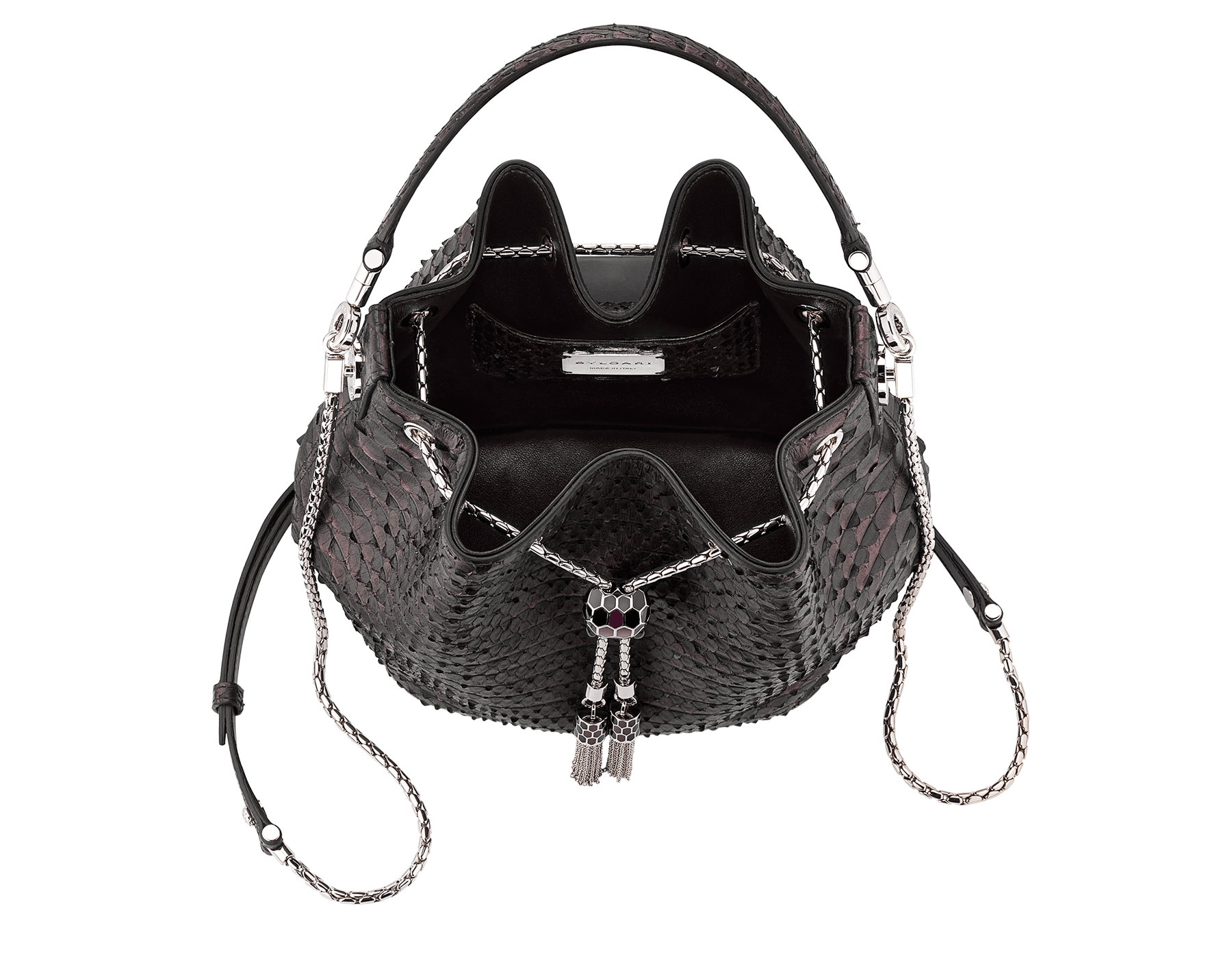 Bucket Serpenti Forever in plum amethyst Plissé python skin and black nappa internal lining. Hardware in light gold plated brass and snakehead closure in black and plum amethyst enamel, with eyes in black onyx. 934-PP image 4