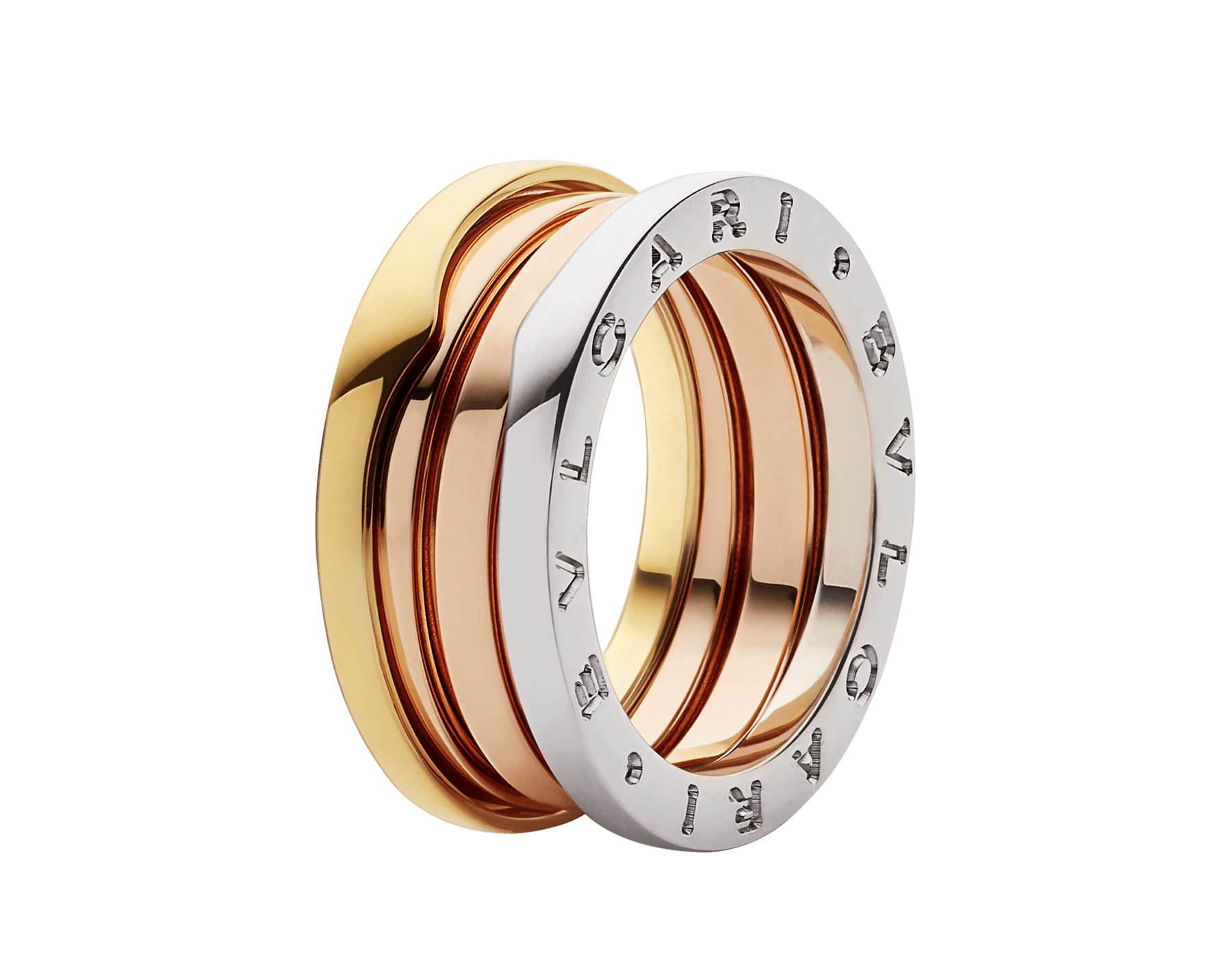 B.zero1 three-band ring in 18 kt rose, white and yellow gold. B-zero1-3-bands-AN857652 image 2