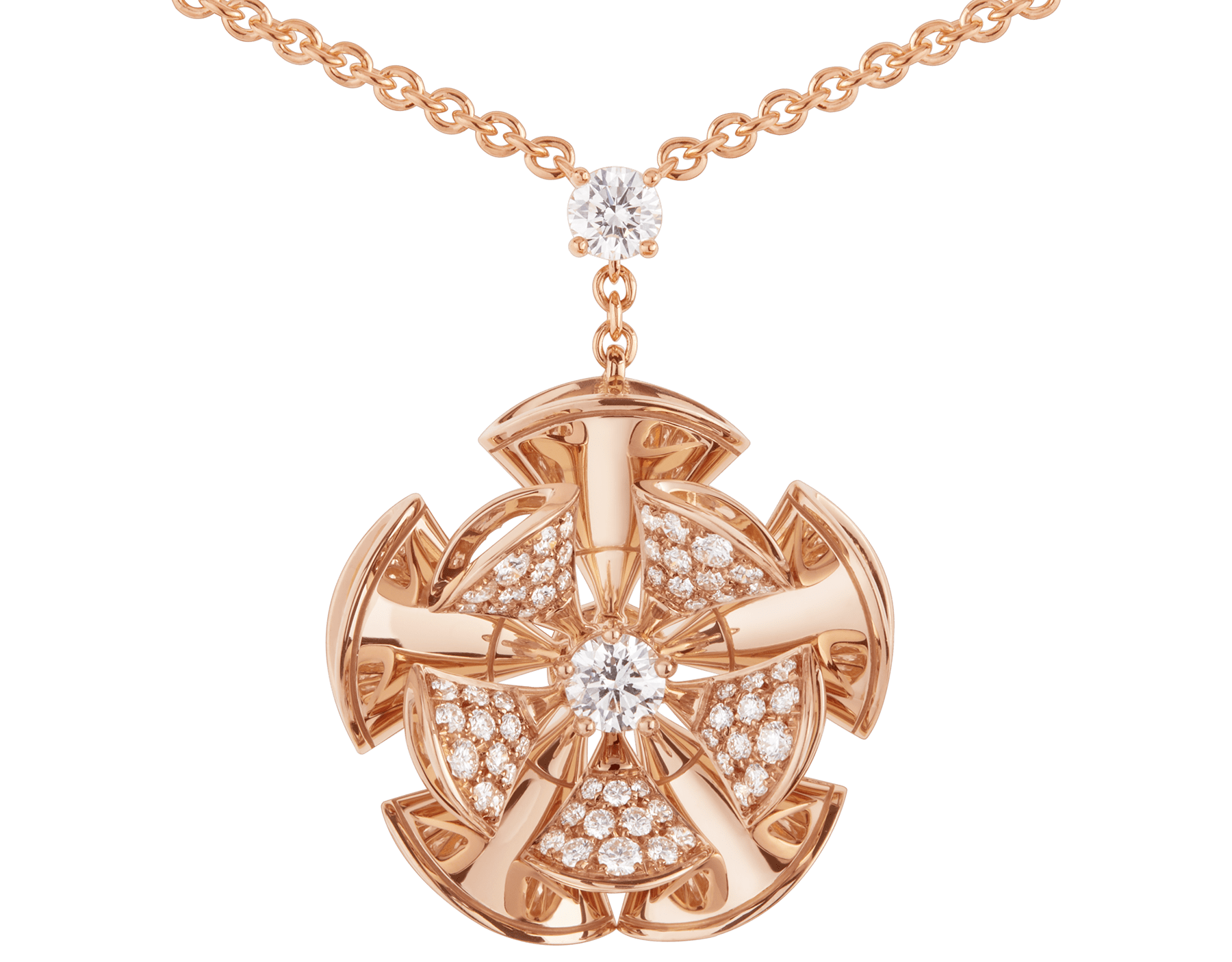 DIVAS' DREAM necklace in 18 kt rose gold with a diamond on the chain and 18 kt rose gold pendant set with central diamond and pavé diamonds. 350783 image 3