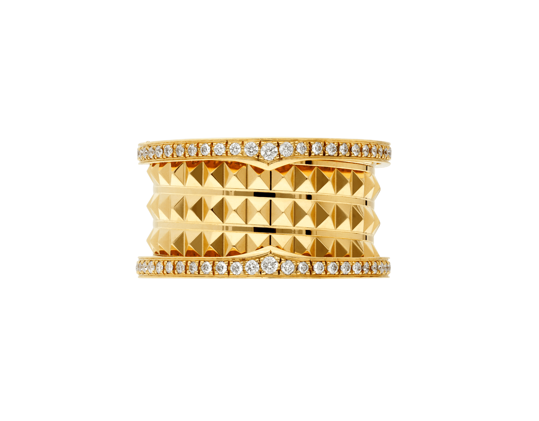 B.zero1 Rock four-band ring in 18 kt yellow gold with studded spiral and pavé diamonds on the edges. AN859026 image 3