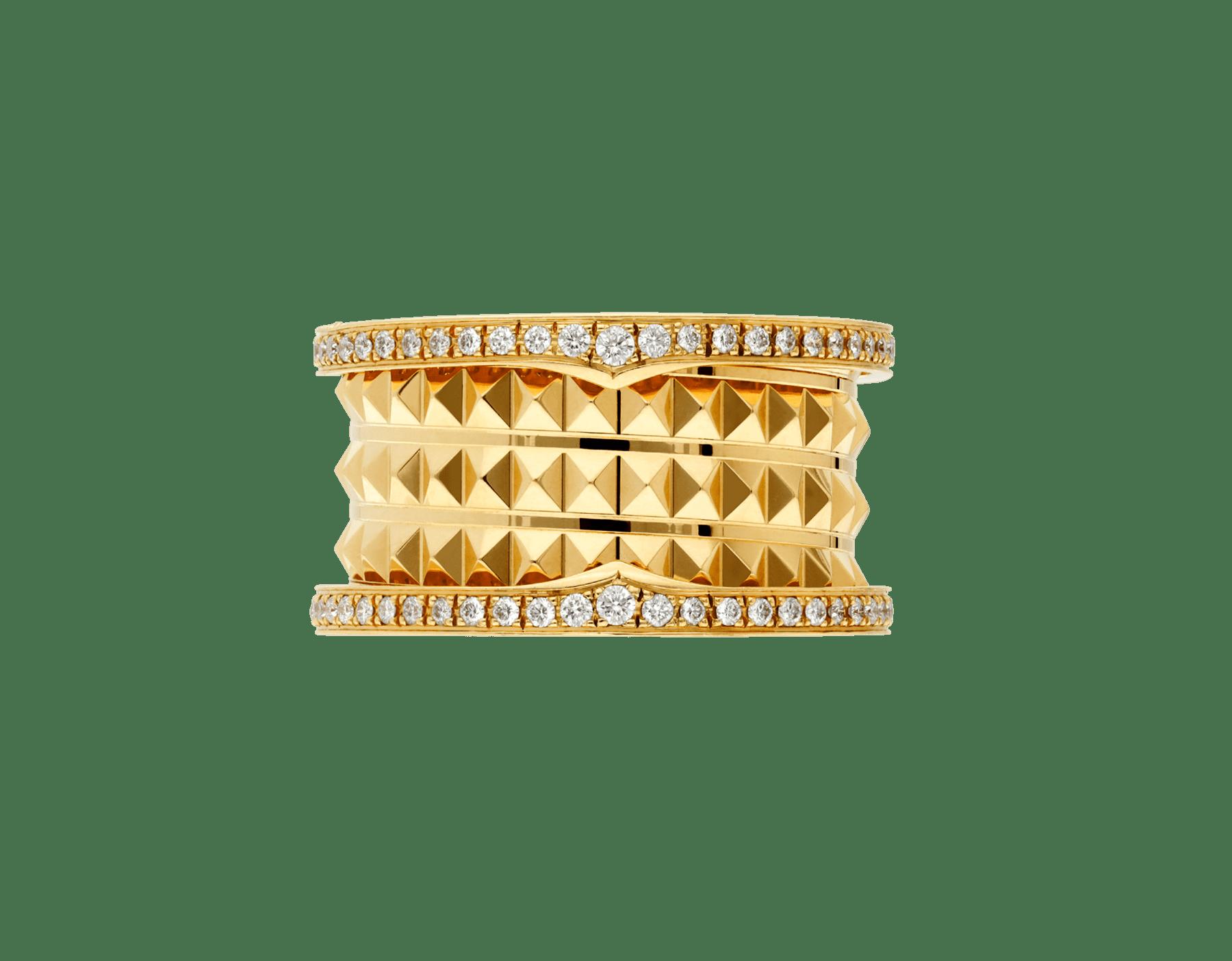 ビー・ゼロワン ロック 4バンド リング。18Kイエローゴールド製。スタッズ付きスパイラル。エッジにパヴェダイヤモンドをあしらいました。 AN859026 image 3