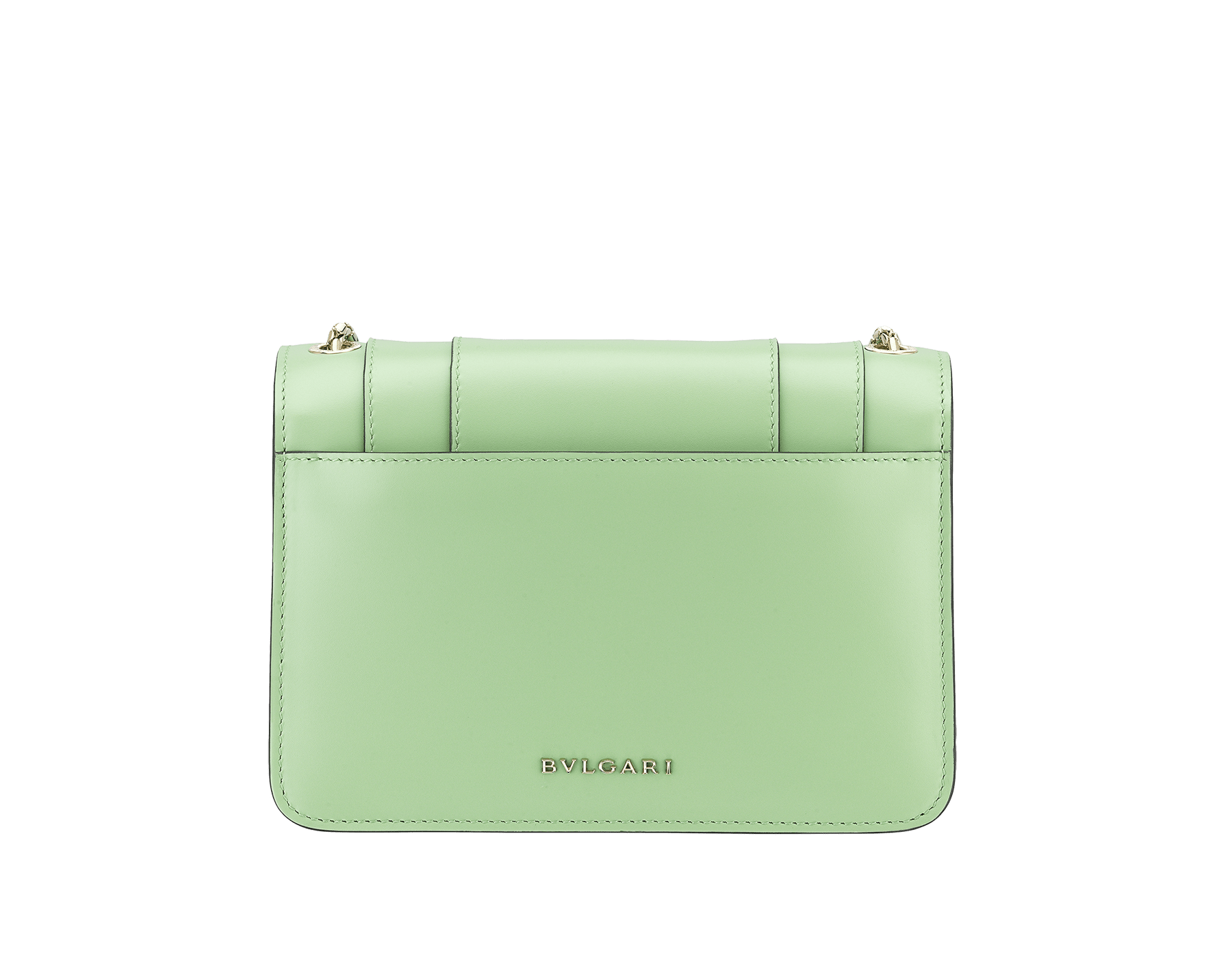 """Serpenti Forever"" crossbody bag in mint calf leather. Iconic snakehead closure in light gold plated brass enriched with black and white agate enamel and green malachite eyes. 1082-CLb image 3"