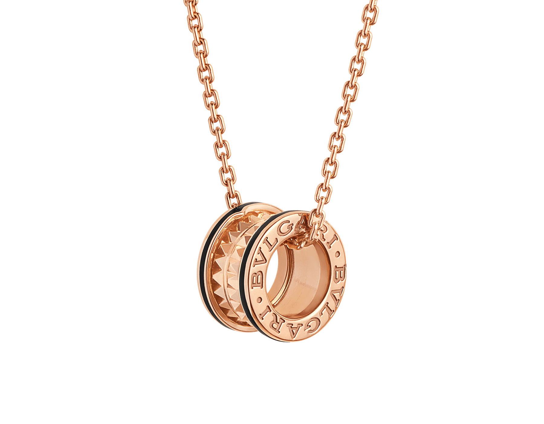 B.zero1 Rock necklace with 18 kt rose gold pendant with studded spiral, black ceramic inserts on the edges and 18 kt rose gold chain 358054 image 1