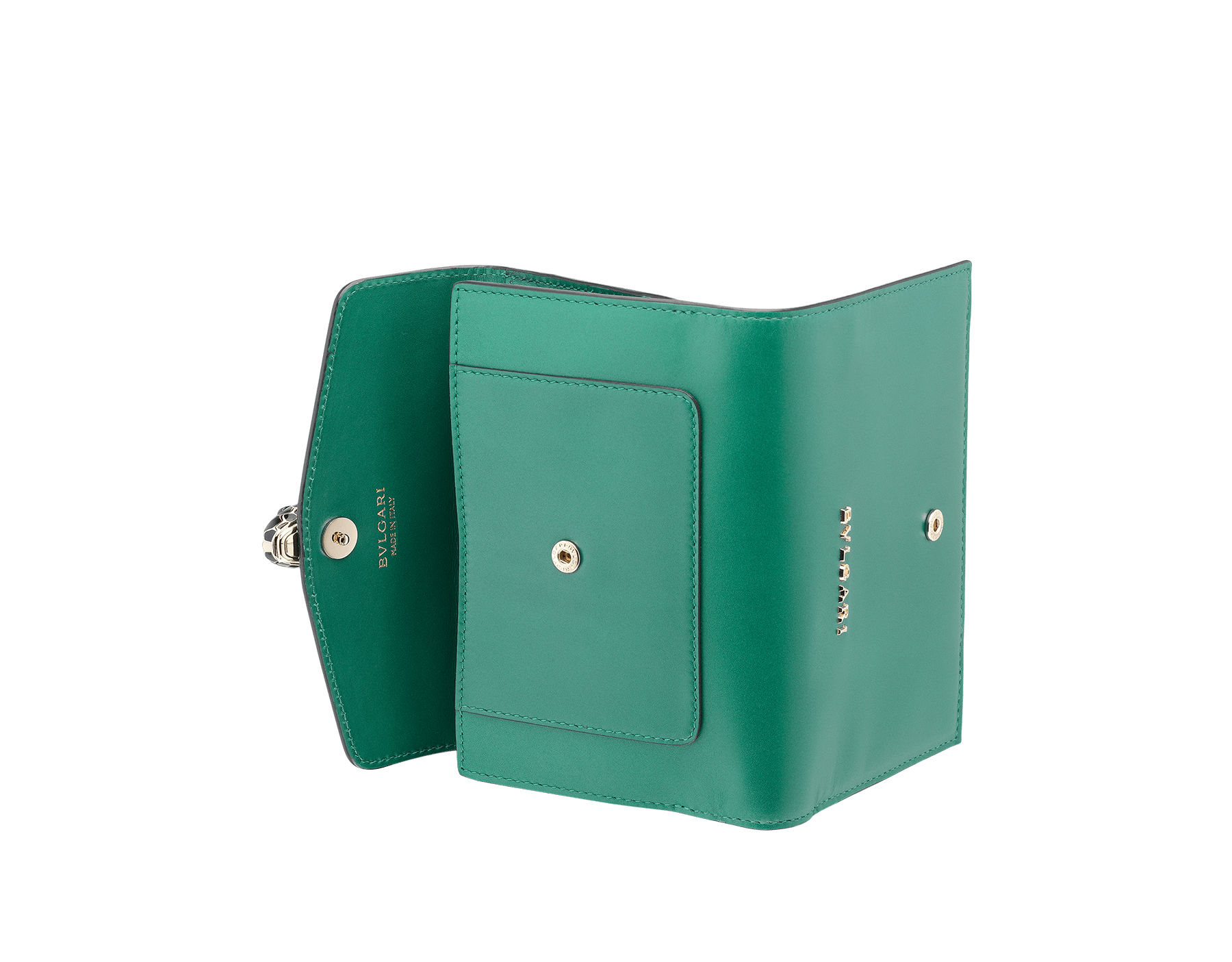 Compact pochette in emerald green calf leather, violet amethyst calf leather and amethyst purple nappa lining. Brass light gold plated Serpenti head stud closure with green malachite eyes. 282665 image 3