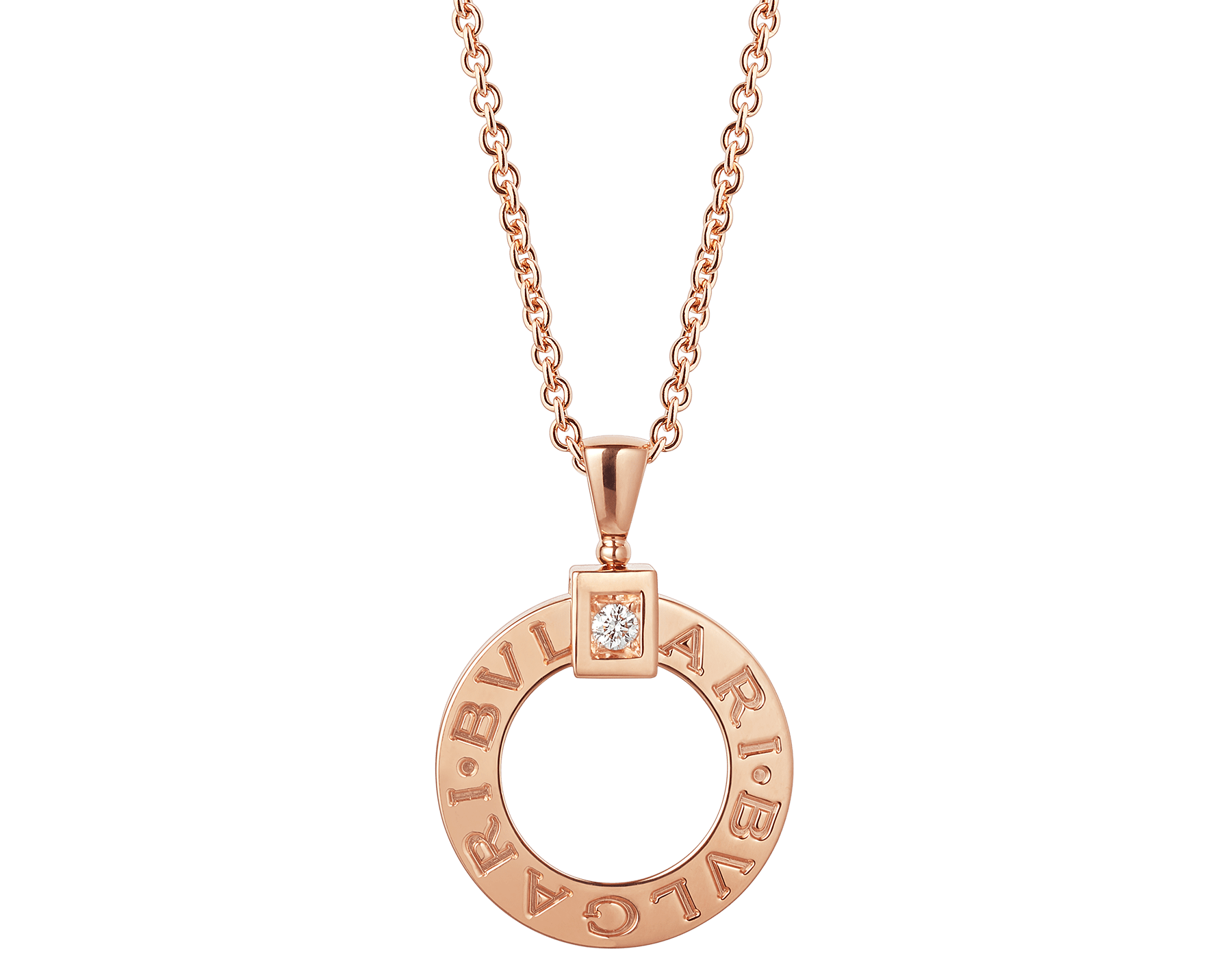 BVLGARI BVLGARI necklace with 18 kt rose gold chain and 18 kt rose gold pendant set with a diamond 344492 image 1