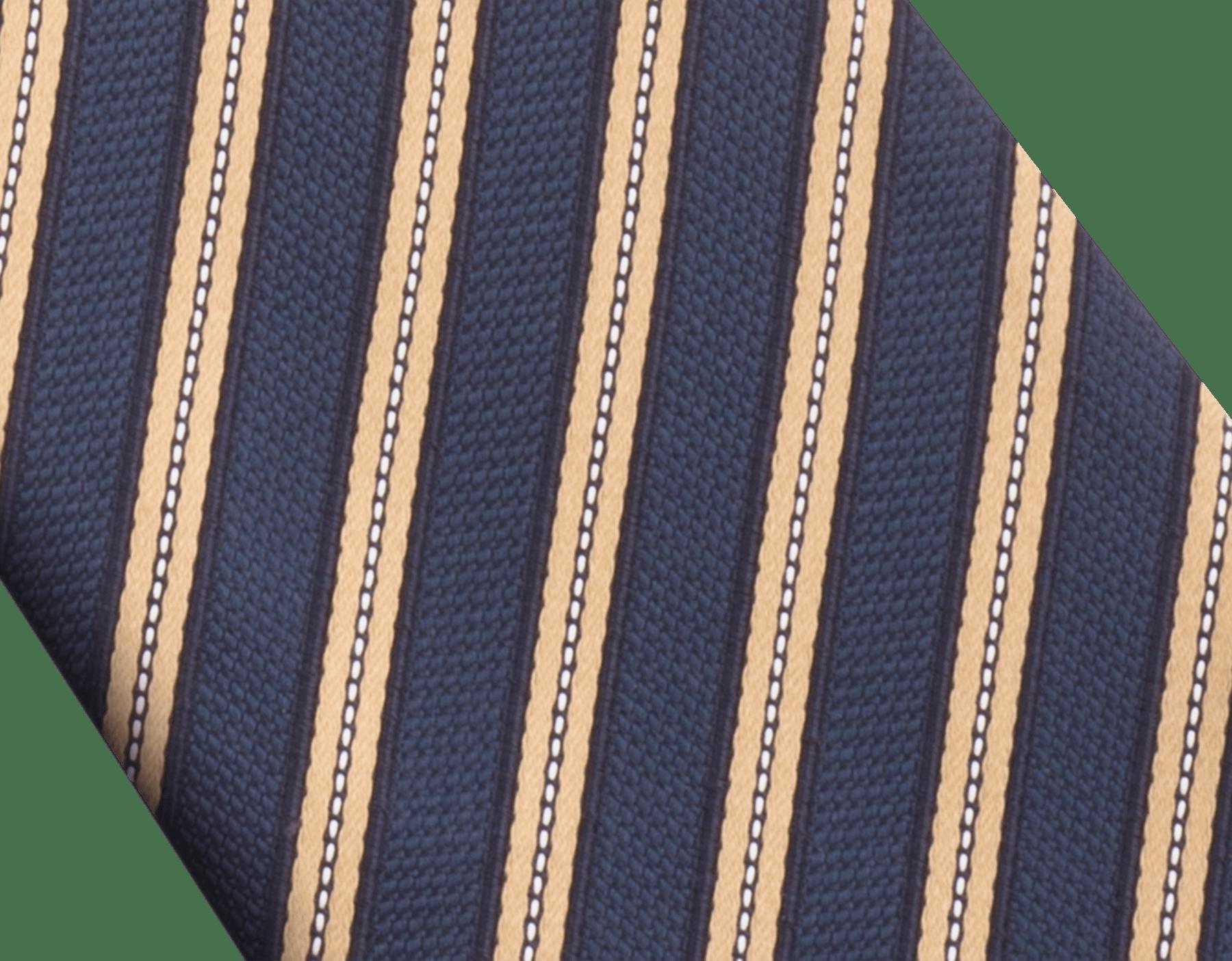 Navy Double Logo Lane pattern tie in fine silk. 242587 image 2