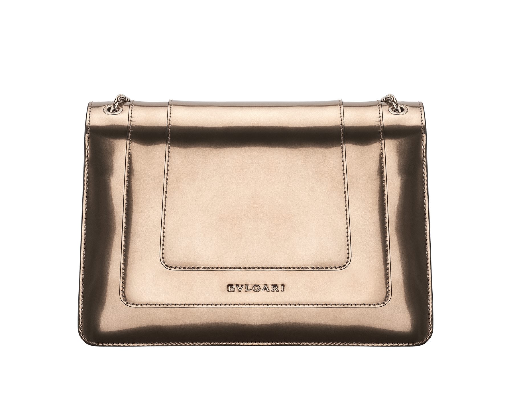 Flap cover bag Serpenti Forever in antique bronze brushed metallic calf leather with brass light gold plated Serpenti head closure in black and white enamel with eyes in green malachite. 39794 image 3
