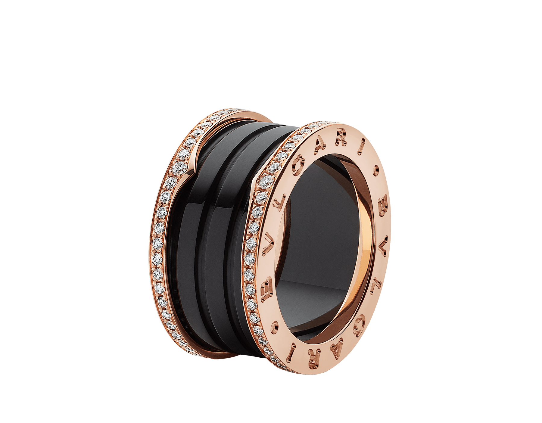 B.zero1 four-band ring with two 18 kt rose gold loops set with pavé diamonds on the edges and a black ceramic spiral. B-zero1-4-bands-AN857029 image 1