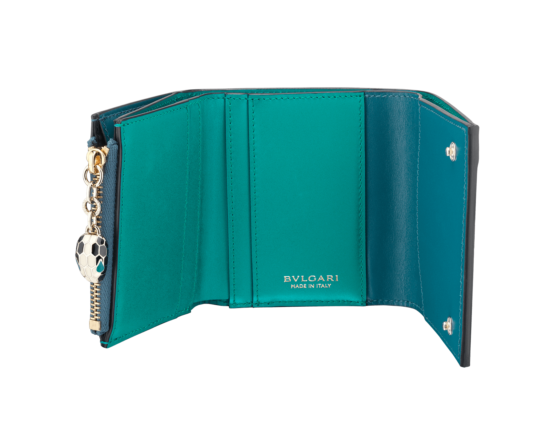 Serpenti Forever super compact wallet in deep jade and tropical turquoise calf leather. Iconic snakehead stud closure in black and white enamel with green malachite enamel eyes. 288034 image 2