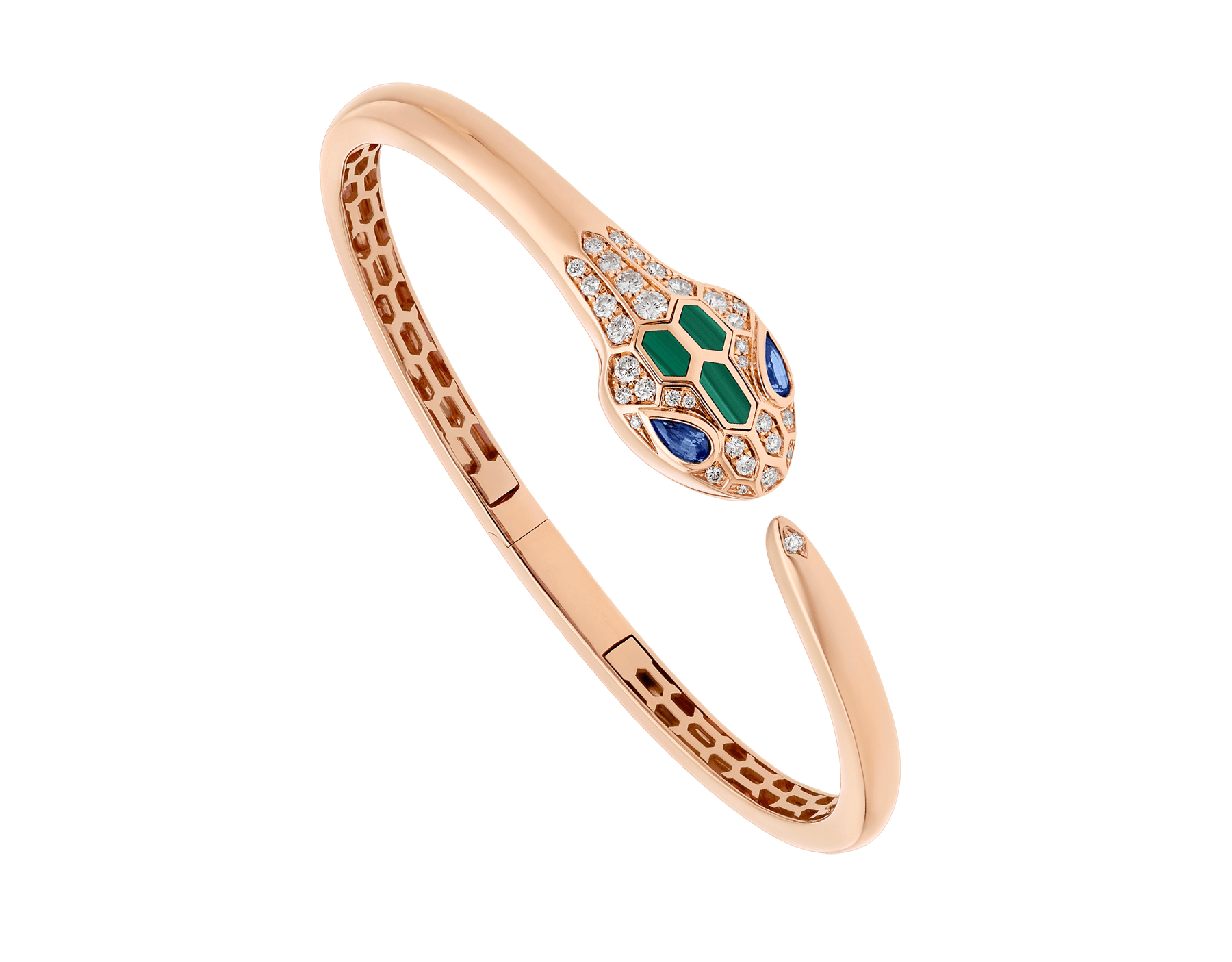 Serpenti 18 kt rose gold bracelet set with blue sapphire eyes, malachite elements and pavé diamonds. BR858586 image 1