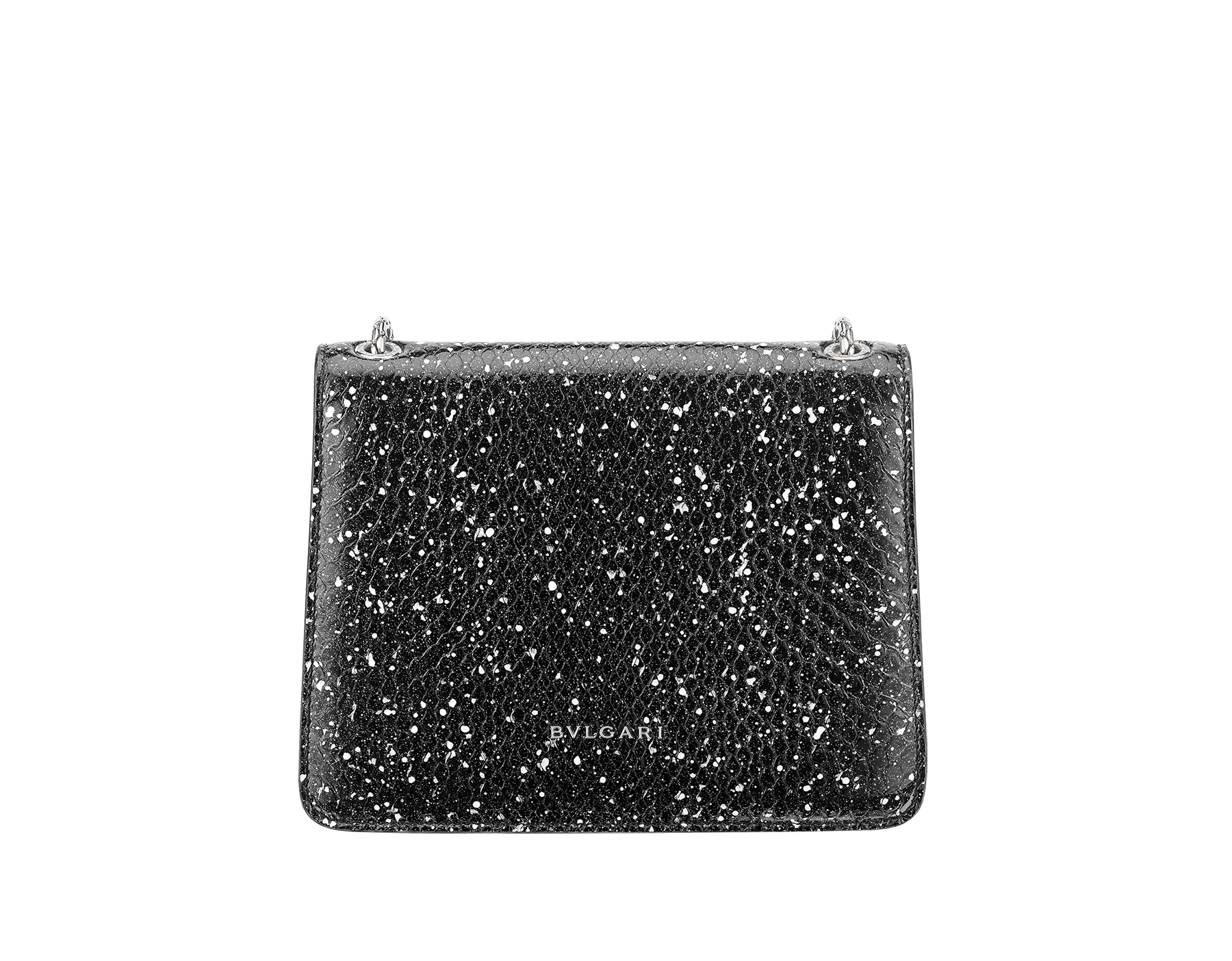 Serpenti Forever crossbody bag in black and white Cosmic python skin. Snakehead closure in palladium plated brass decorated with black and white enamel, and black onyx eyes. 288110 image 3