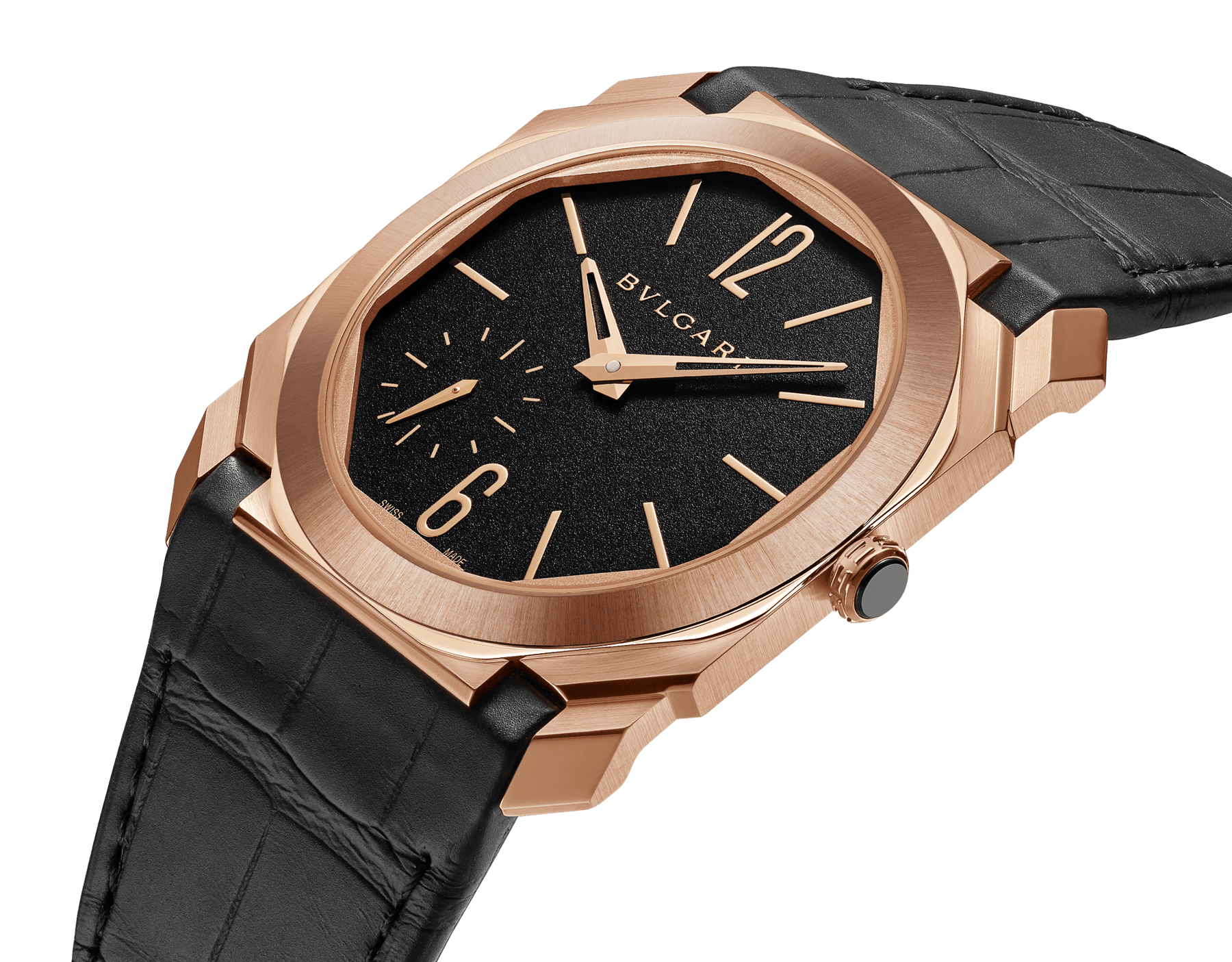 Octo Finissimo Automatic watch with mechanical manufacture movement, automatic winding, platinum microrotor, small seconds, extra-thin 18 kt satin-polished rose gold case, transparent case back, black matte dial and black alligator bracelet. Water-resistant up to 100 metres 103286 image 2