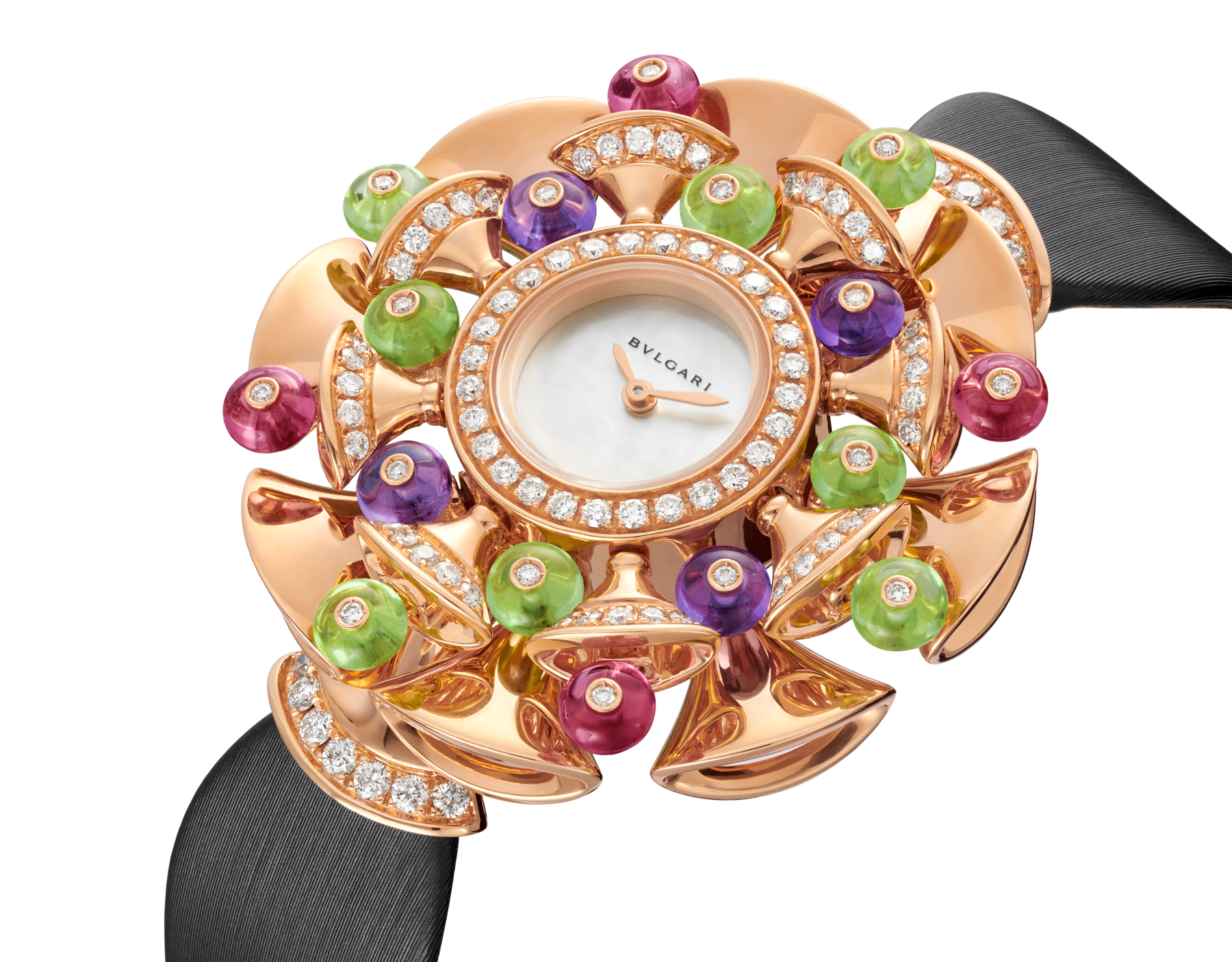 DIVAS' DREAM watch with 18 kt rose gold case set with brilliant-cut diamonds, peridot, rubellite and amethyst beads, white mother-of-pearl dial and black satin bracelet 102217 image 2