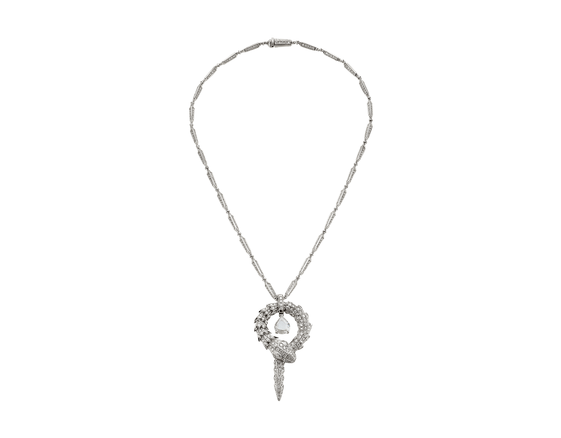 Serpenti small pendant in 18 kt white gold with central diamond and pavé diamonds. 354088 image 1