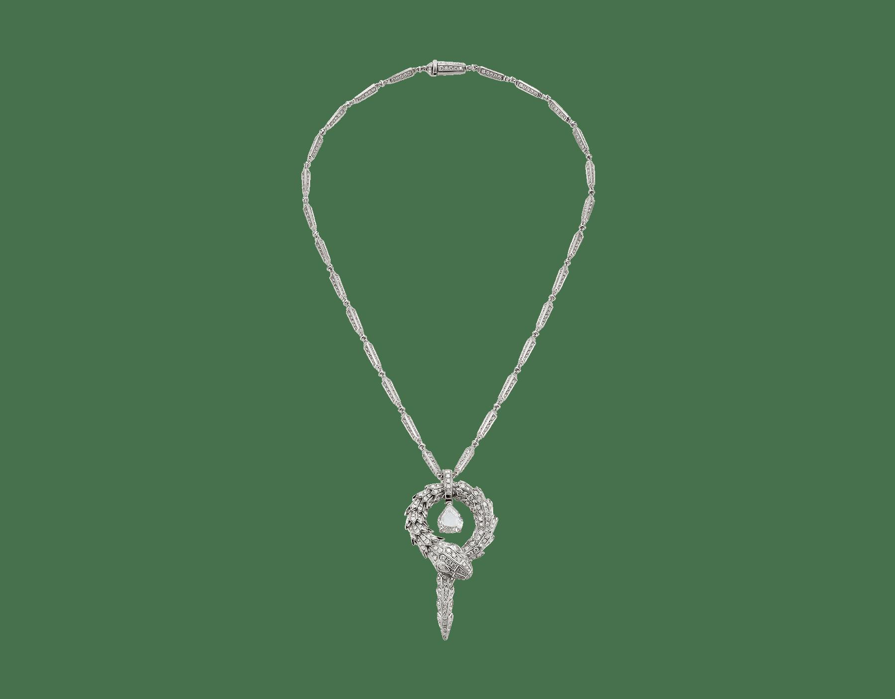 Serpenti系列吊坠,小号,白色18K金材质,镶嵌中央钻石和密镶钻石 354088 image 1