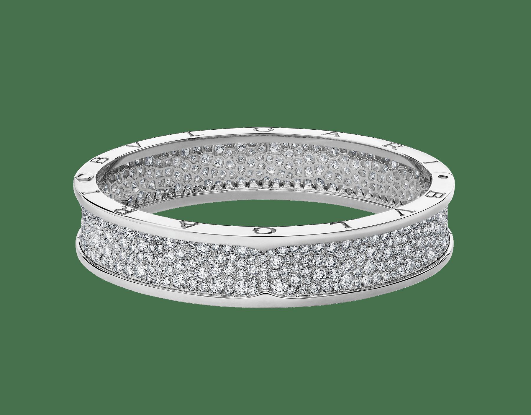 B.zero1 large bangle bracelet in 18 kt white gold set with pavé diamonds on the spiral. BR856218 image 2