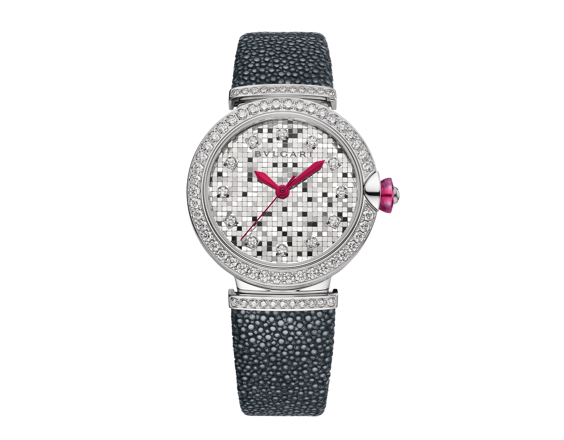 LVCEA watch with 18 kt white gold case set with diamonds, 18 kt white gold mosaic dial and black galuchat bracelet. 102830 image 1