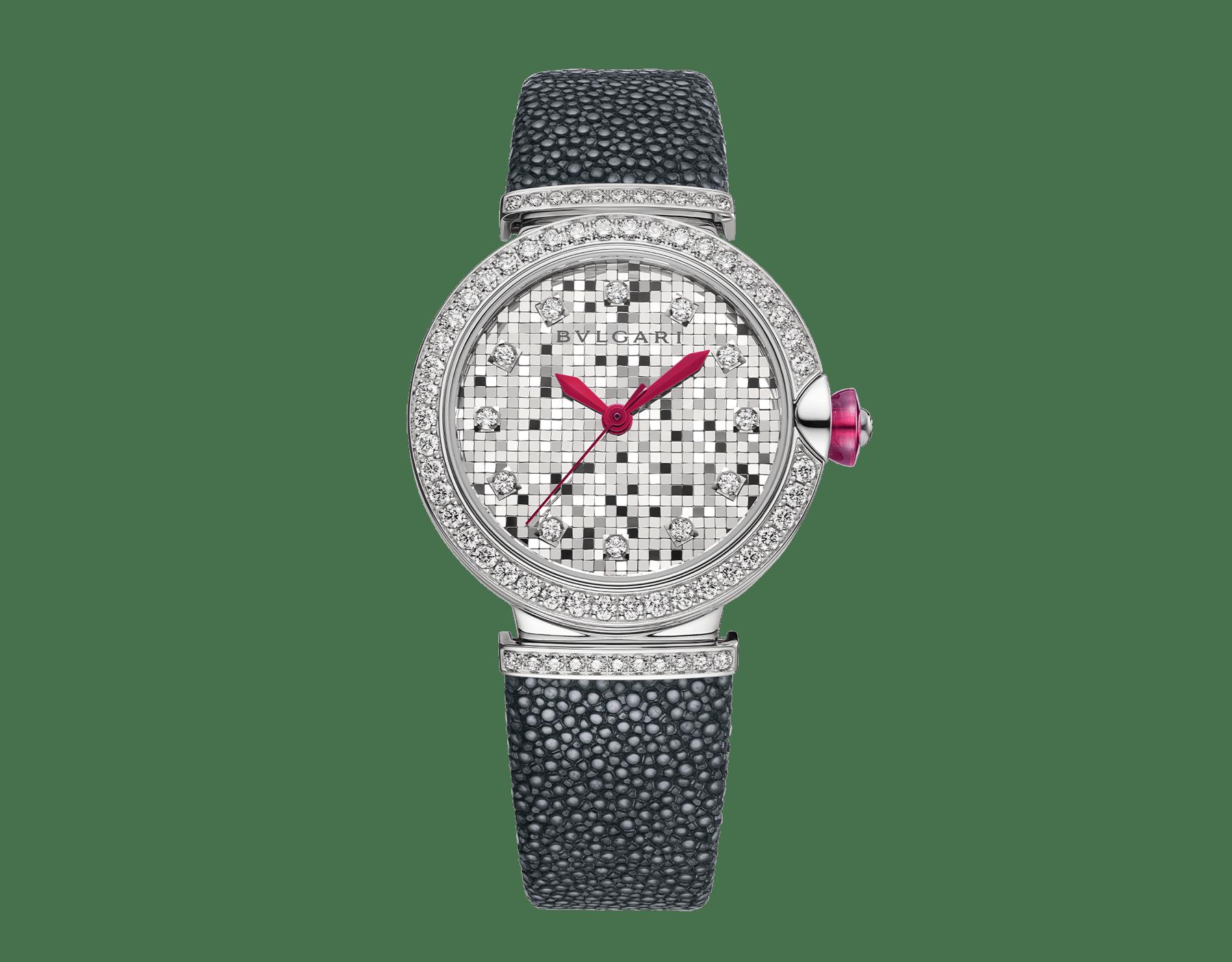 Reloj LVCEA con caja en oro blanco de 18 qt con diamantes engastados, esfera mosaico en oro blanco de 18 qt y correa de galuchat negra. 102830 image 1
