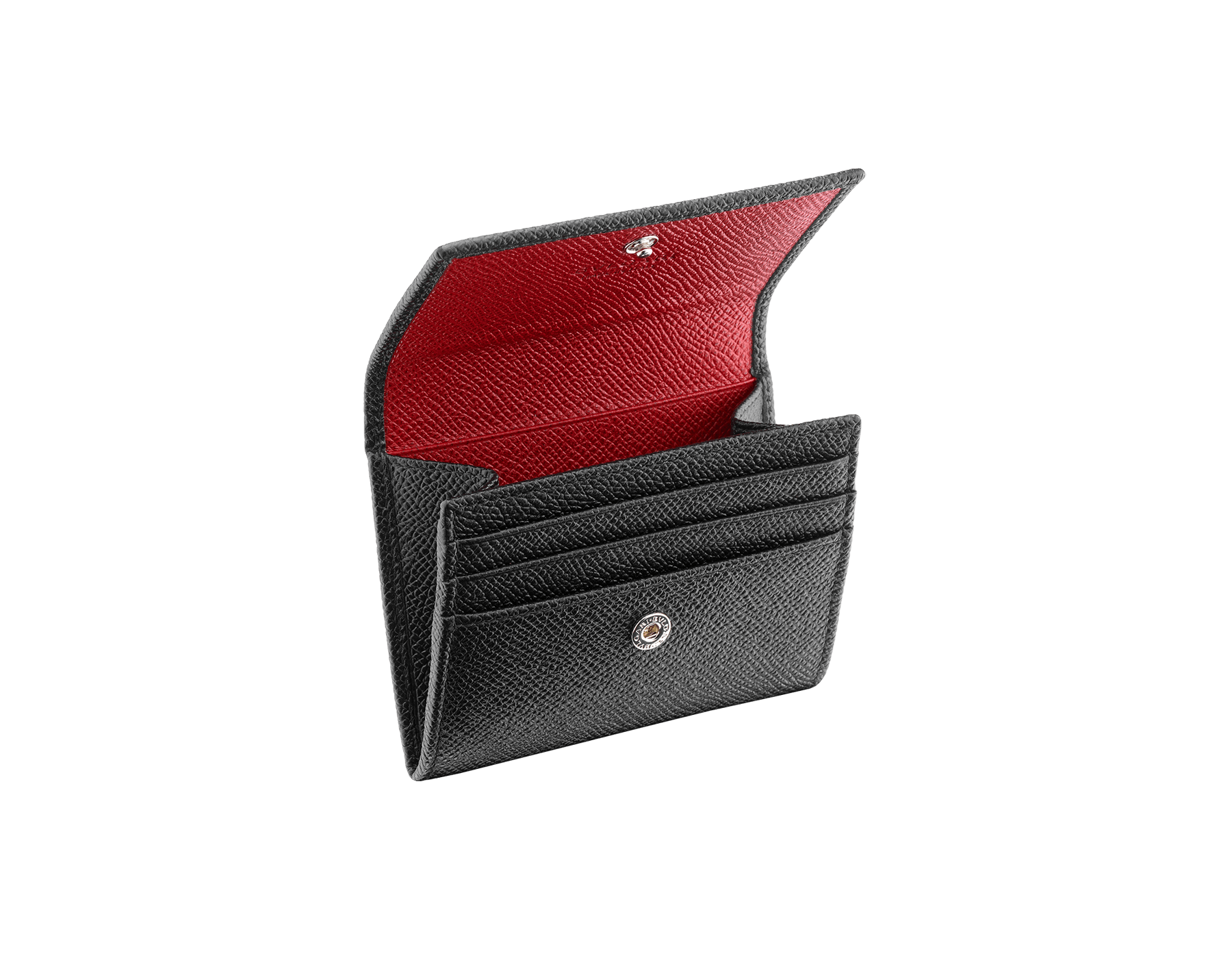 BVLGARI BVLGARI coins and credit card holder in black and ruby red grain calf leather and black nappa lining. Iconic logo décor in palladium plated brass. 288293 image 2